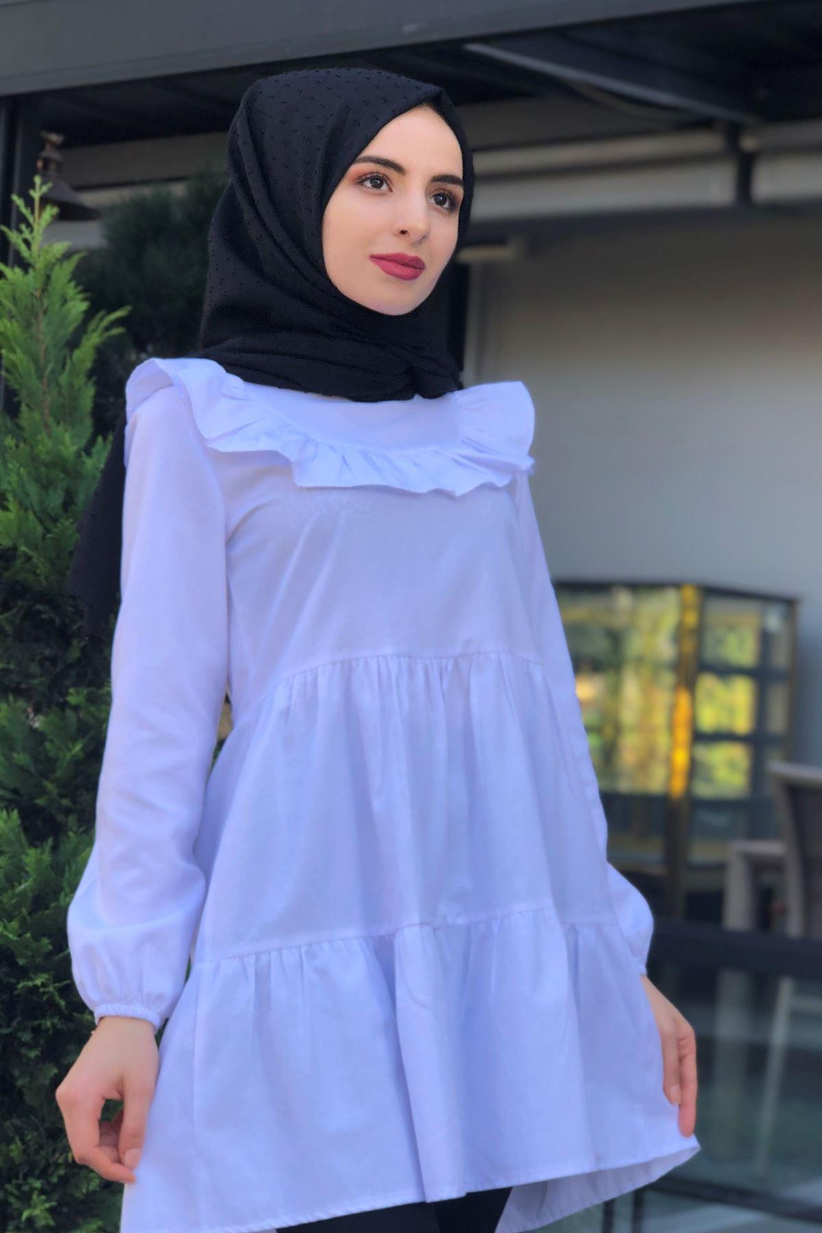 Yaka Fırfırlı Tunik Gömlek - Beyaz