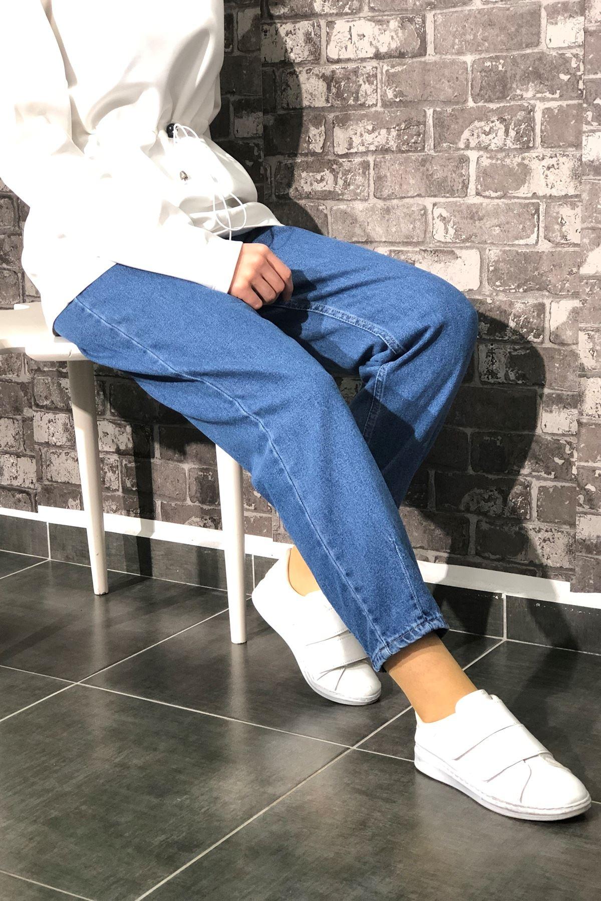Boyfriend Çizgili Paça Kot Pantolon - Mavi