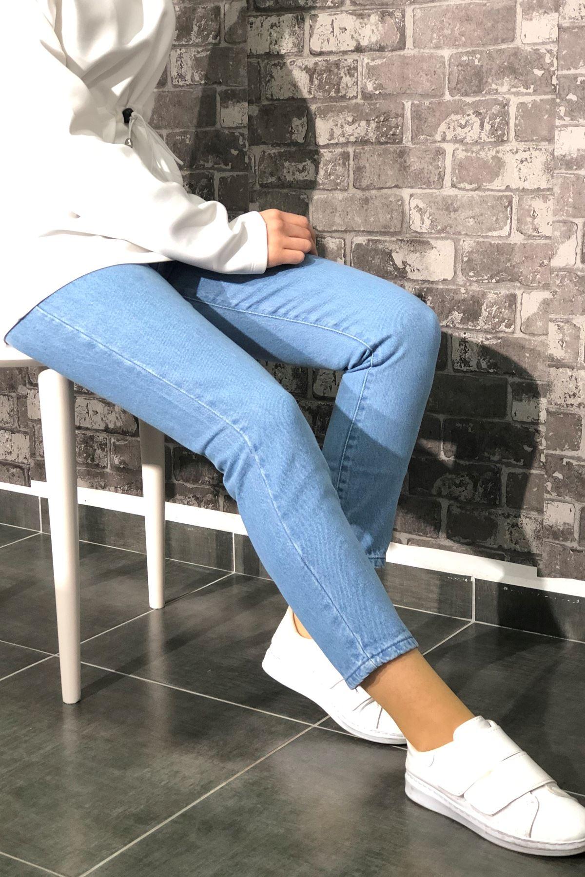 Boyfriend Kot Pantolon - Açık Mavi