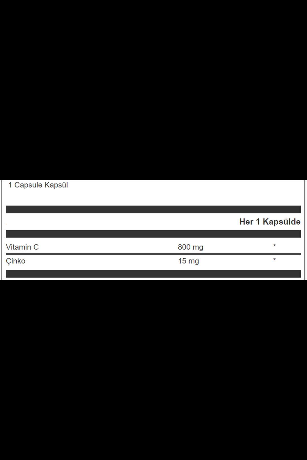 NSUP Vitamin C 800 mg & Çinko 15 mg - 30 Vegeteryan Kapsül