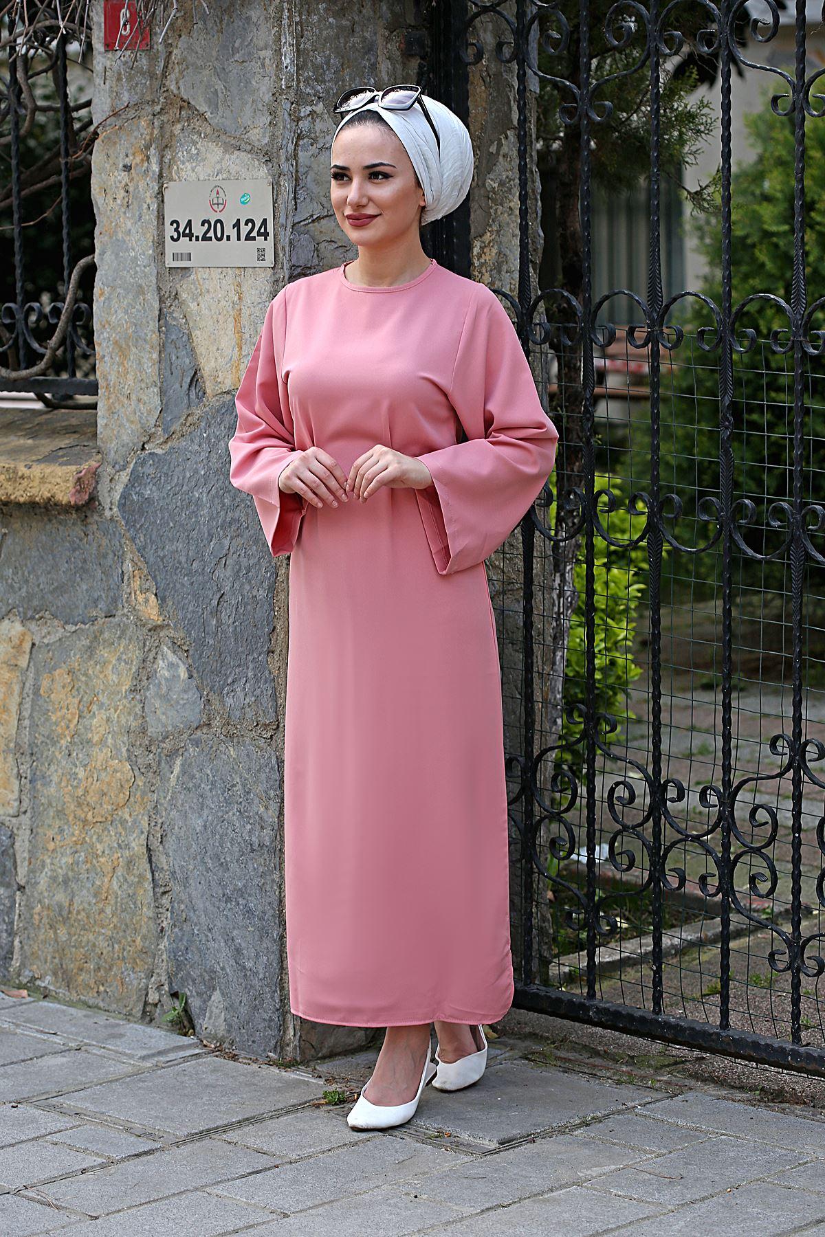 Bel Bağlamalı Kalem Elbise - Gülkurusu