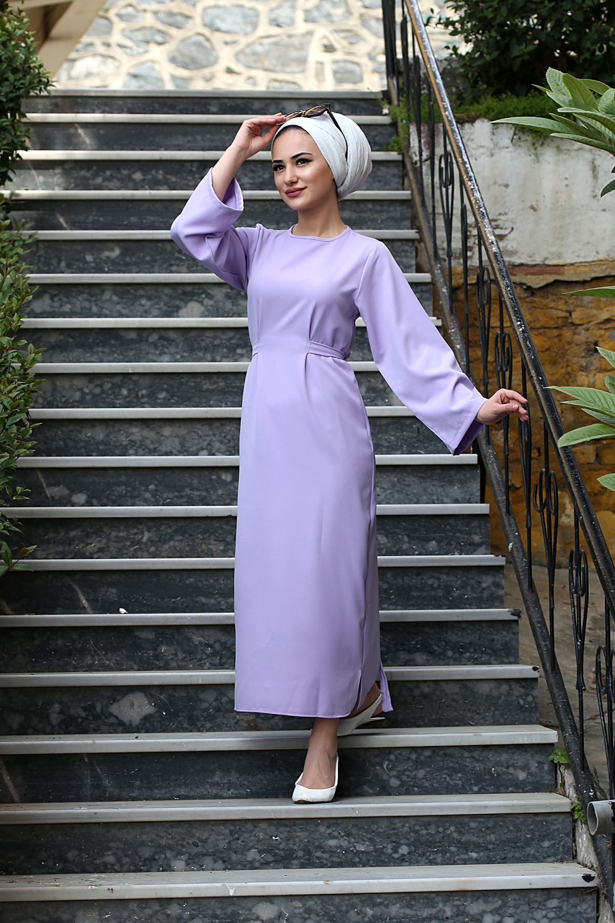 Bel Bağlamalı Kalem Elbise - Lila