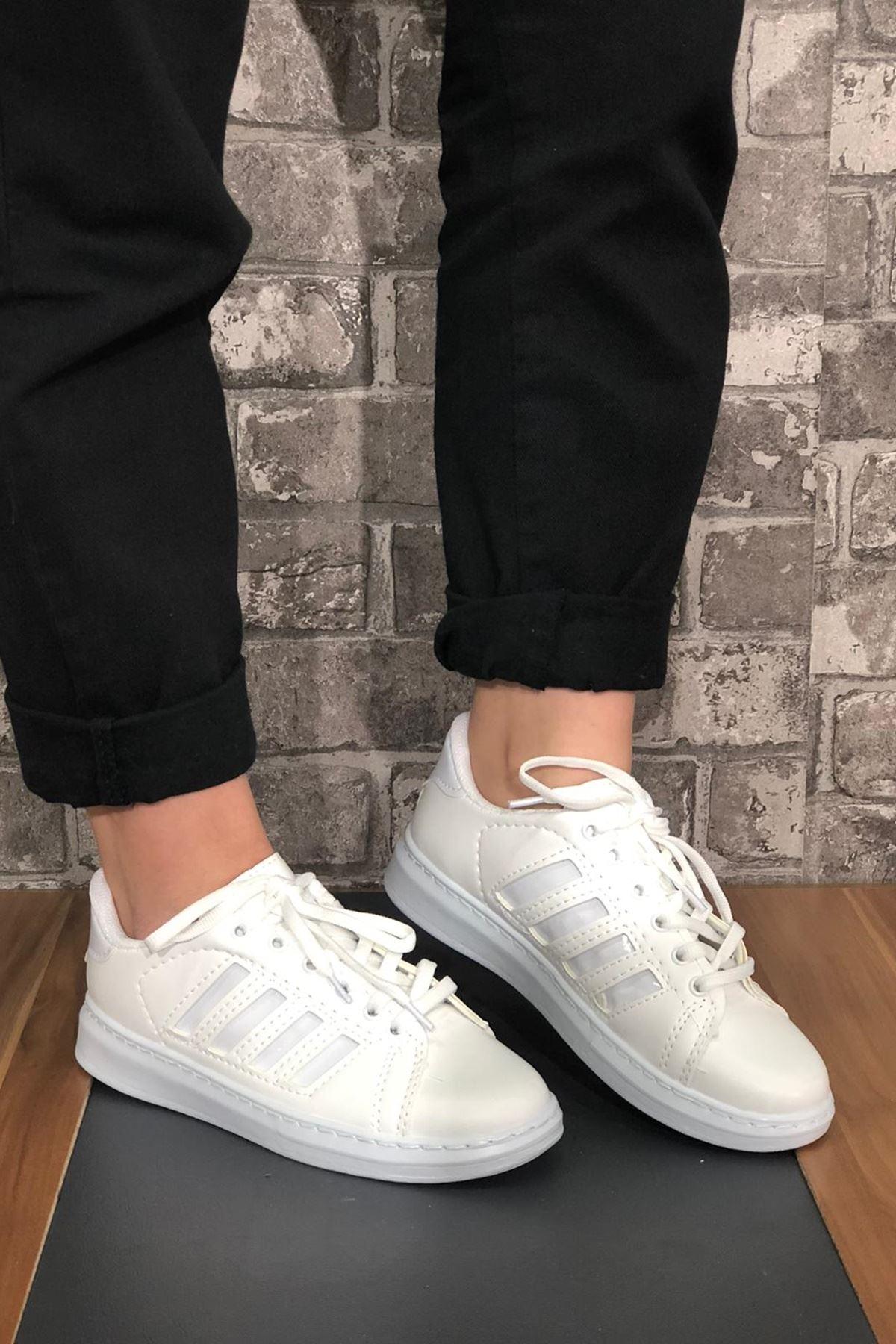 Süperstar Şeritli Spor Ayakkabı - Beyaz