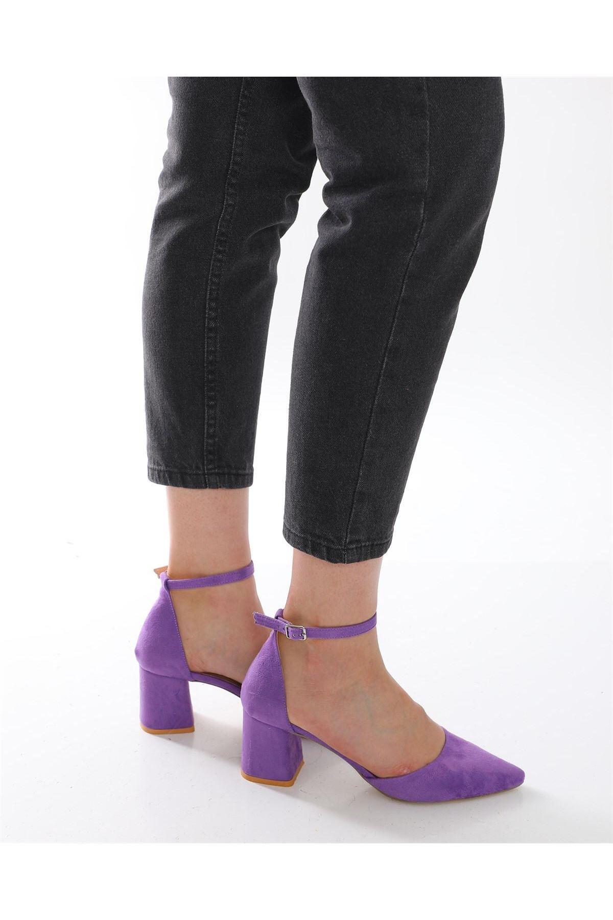 Kalın Topuklu Stiletto Ayakkabı - Mor