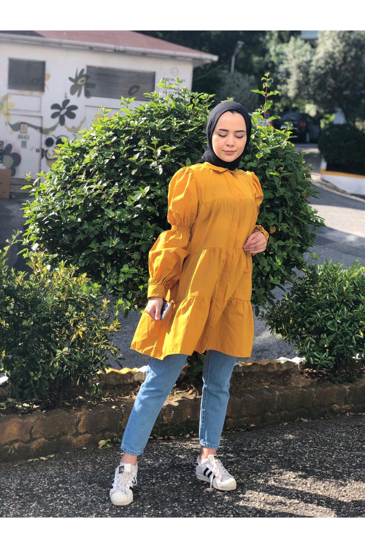 Lastik Büzgülü Katlı Tunik Gömlek - HARDAL