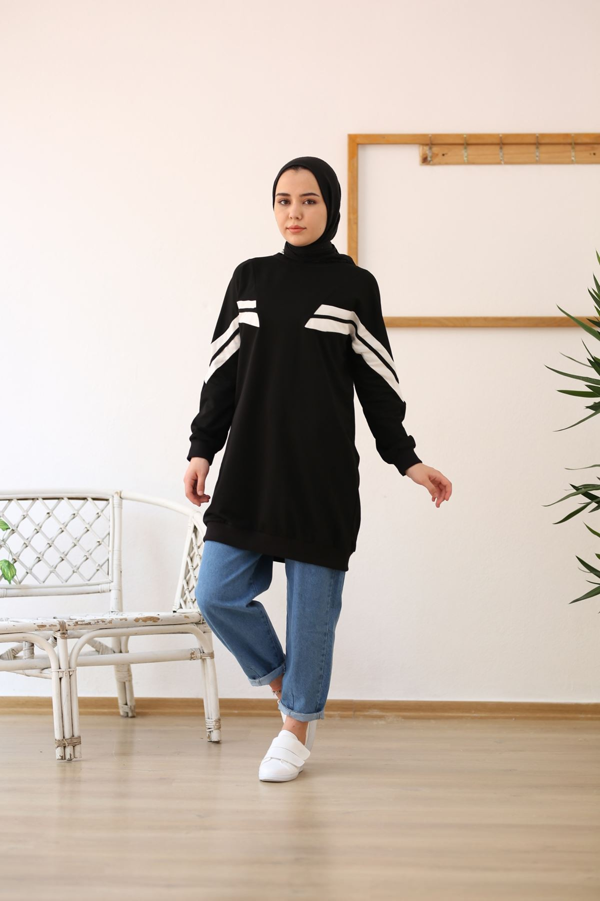 Şeritli Sweatshirt-Siyah