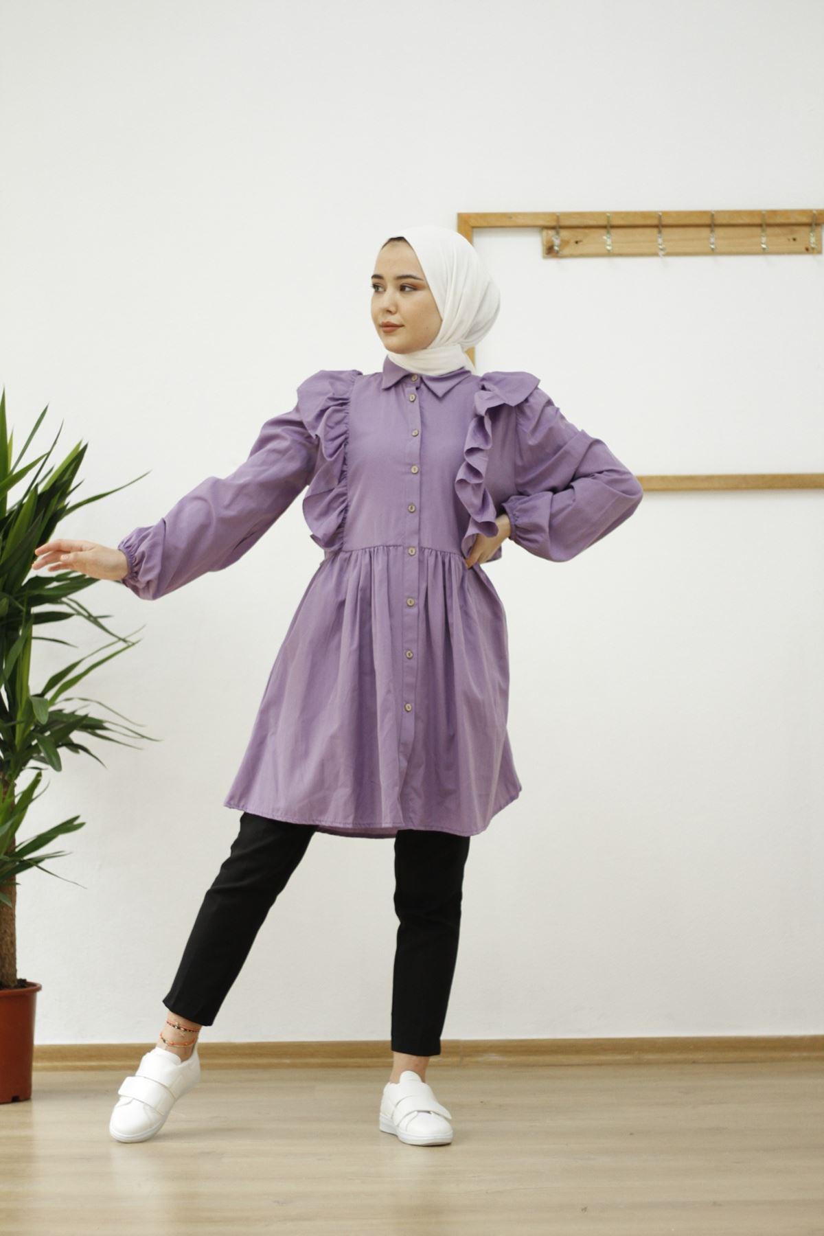 Rana Kol Lastik Detaylı Tunik Gömlek-Lila