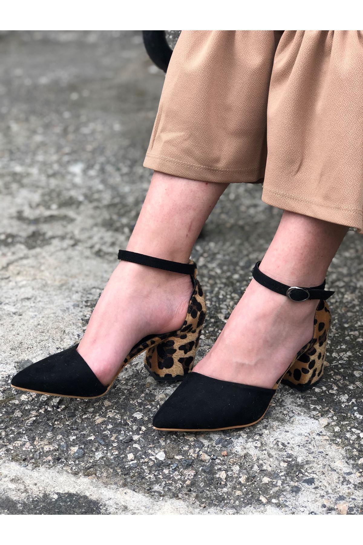 Kalın Topuklu Stiletto Ayakkabı - Leopar