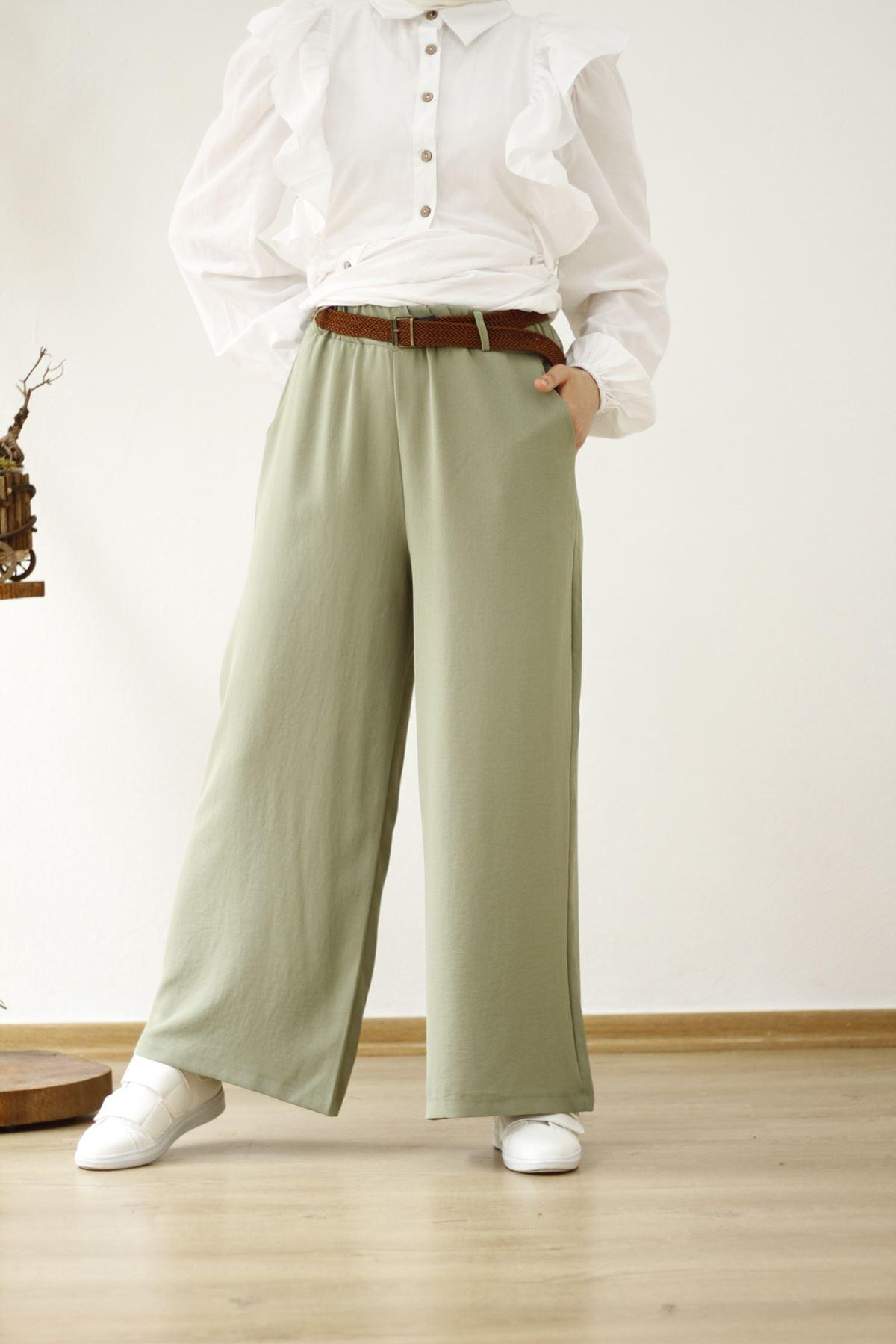 Kemerli Salaş Pantolon - Çağla