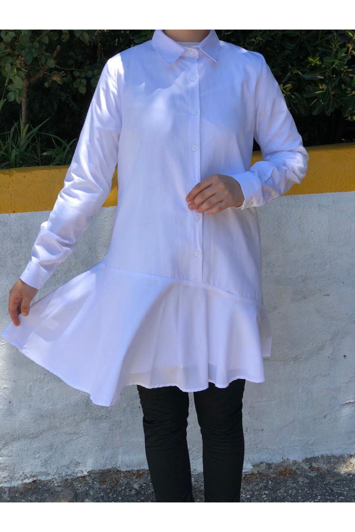 Asimetrik Fırfır Tunik Gömlek - Beyaz