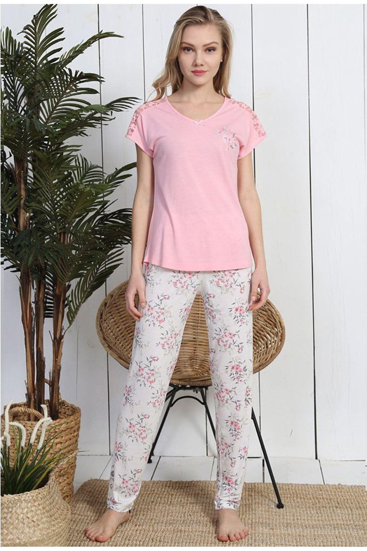 Viskon Kısa Kol Pijama Takım