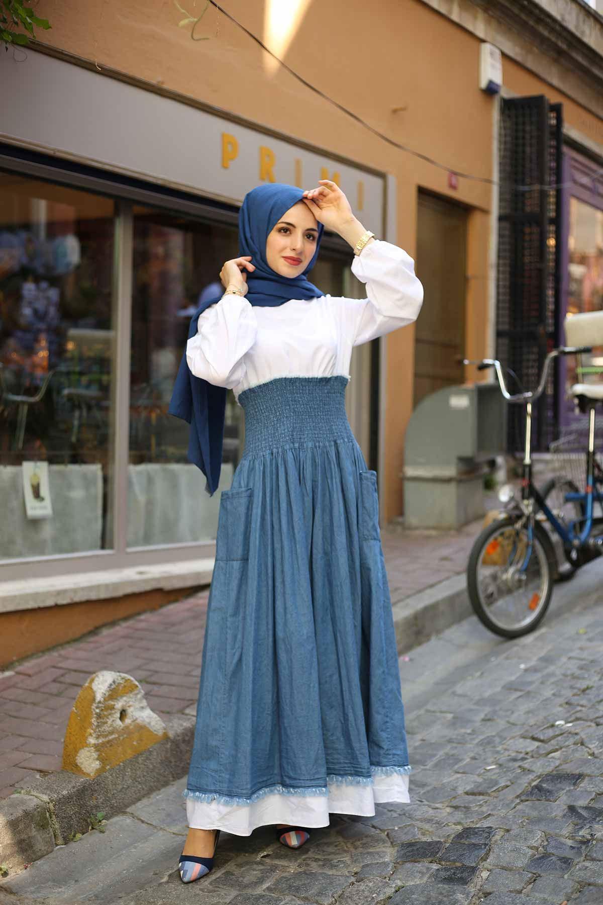 Gömlek Detaylı Büzgülü Kot Elbise - Mavi