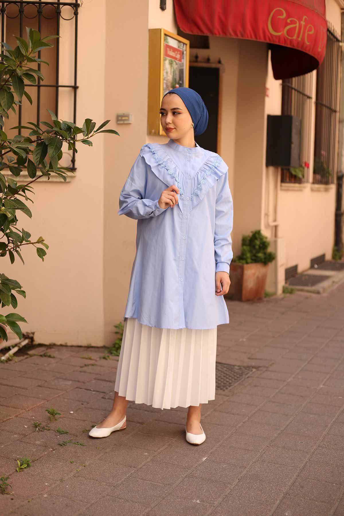 Lavinya Fırfır Gömlek Tunik - Buz Mavi