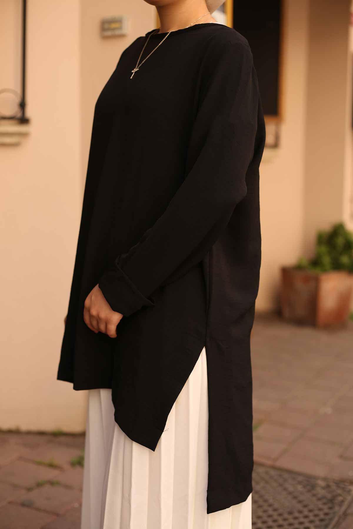 Yırtmaçlı Bluz - Siyah