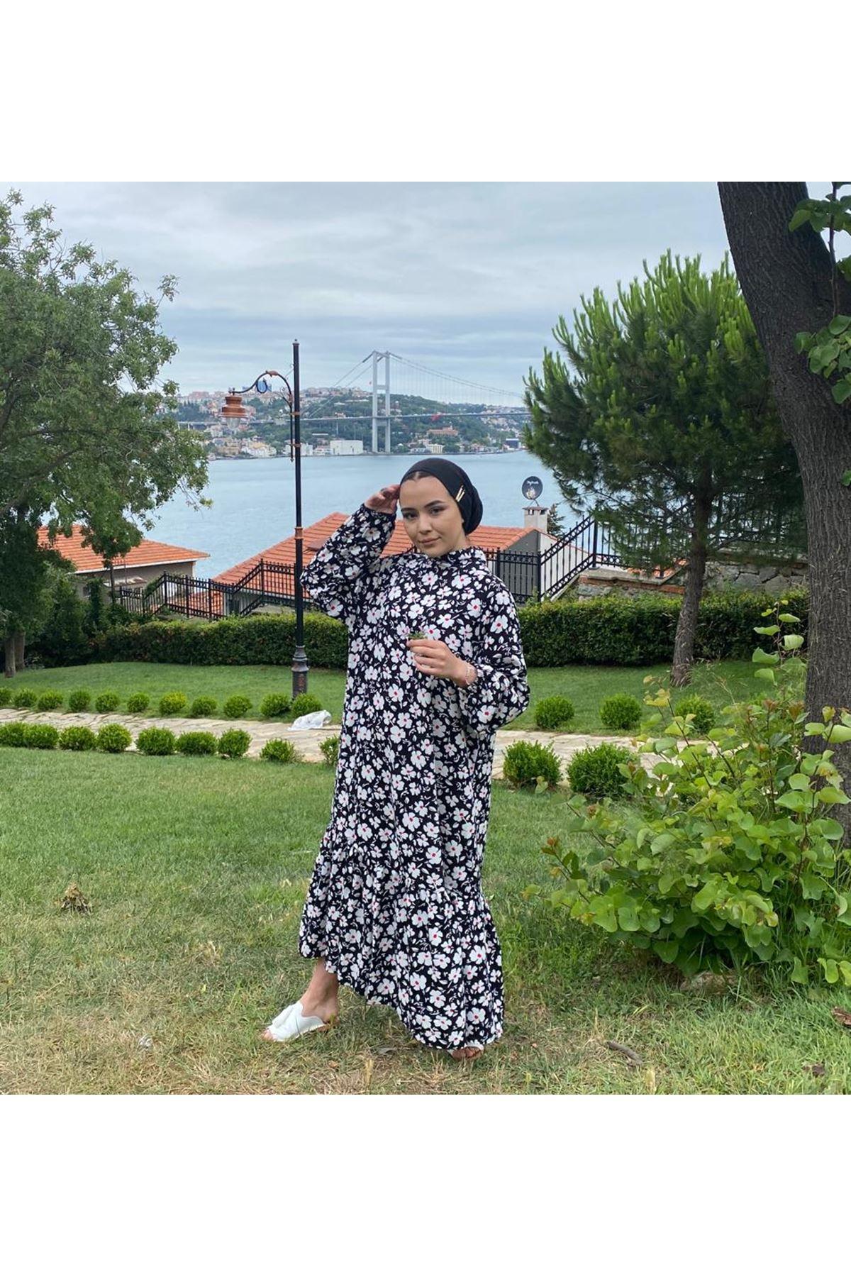Yonca Desen Tesettür Elbise - Siyah