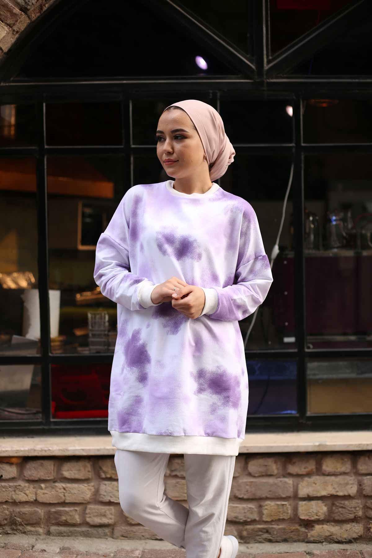 Pastel Desen Tunik - Lila