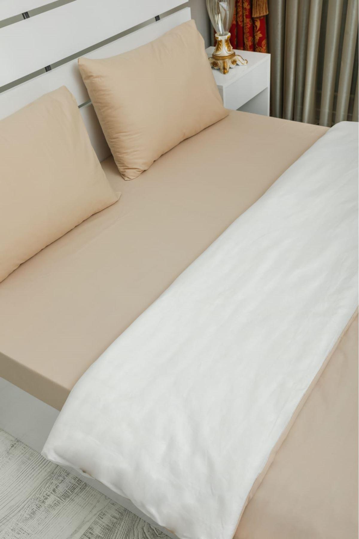 %100 ORGANİK PAMUK NEVRESİM SETİ TEK KİSİLİK cappucino*beyaz