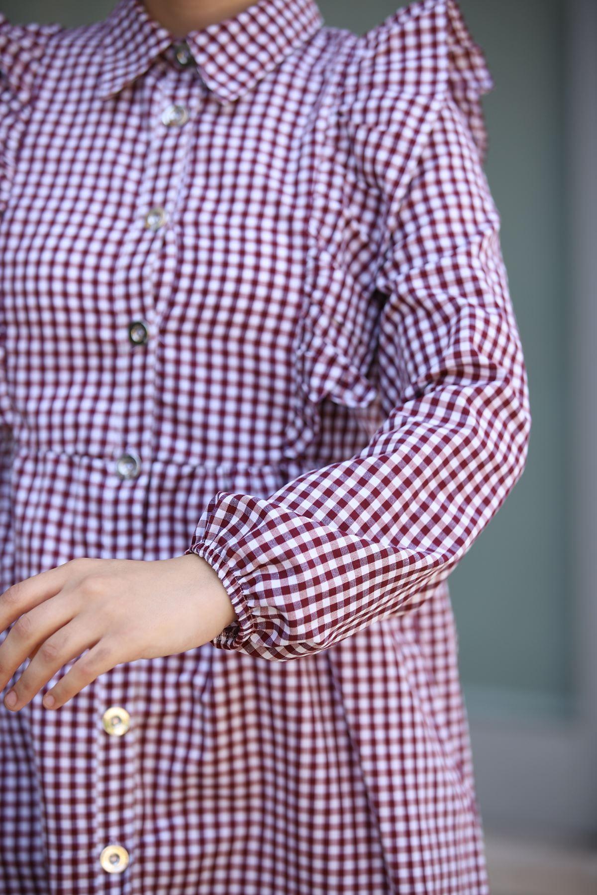 Mini Kare Tunik Gömlek - Bordo