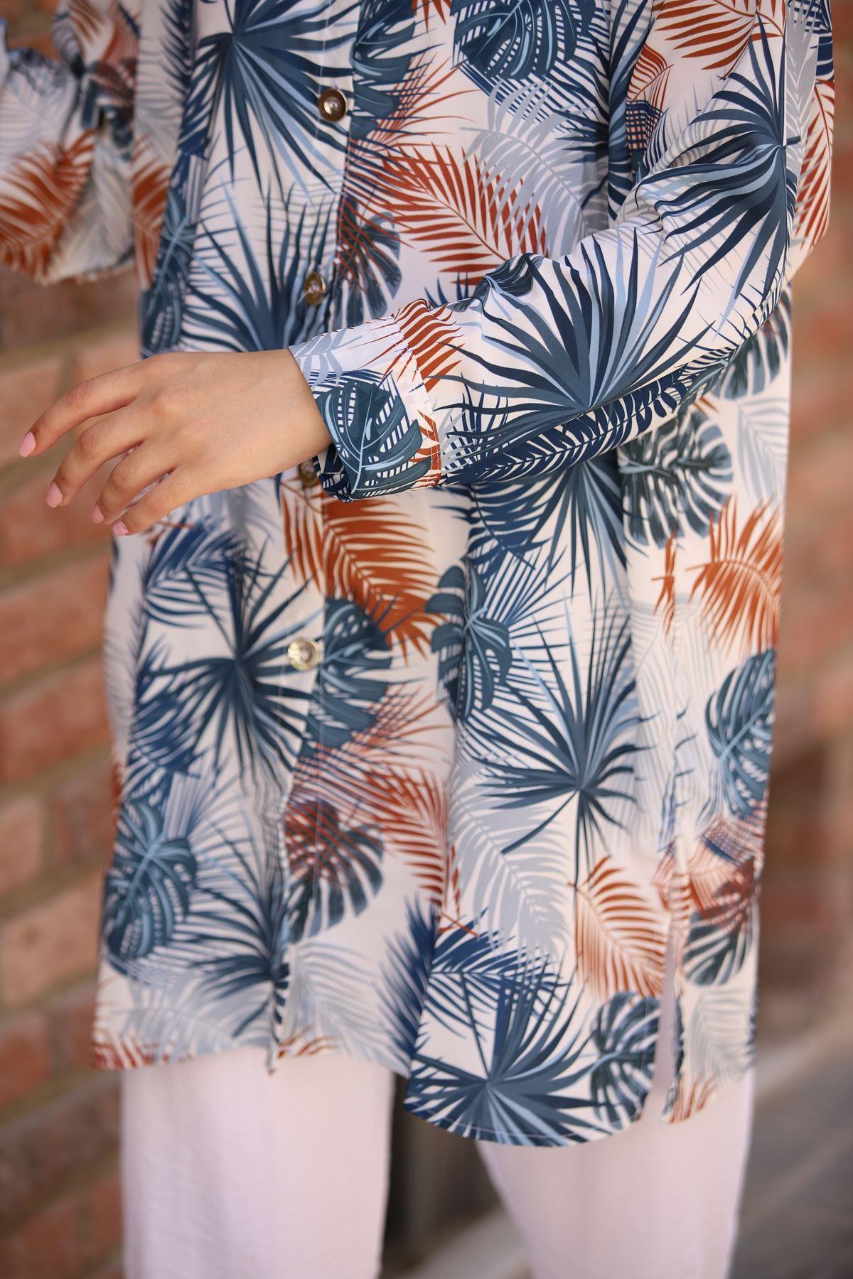Palmiye Desen Tunik Gömlek - Mavi