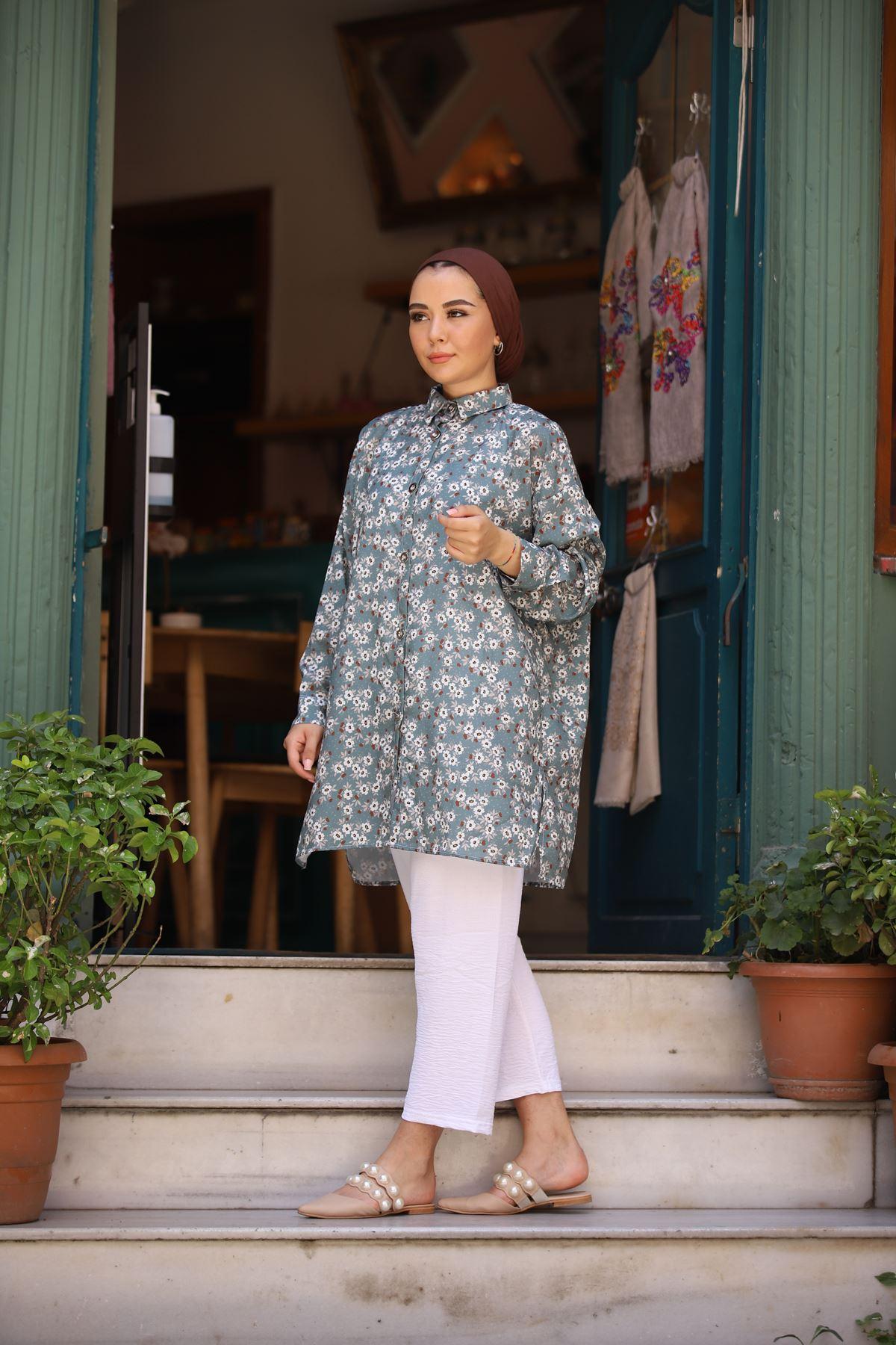 Papatya Desen Tunik Gömlek - Yeşil