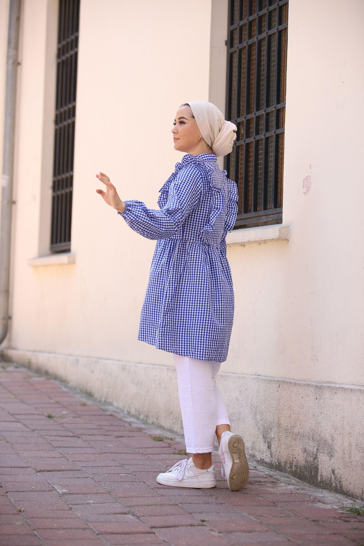 Mini Kare Tunik Gömlek - Mavi