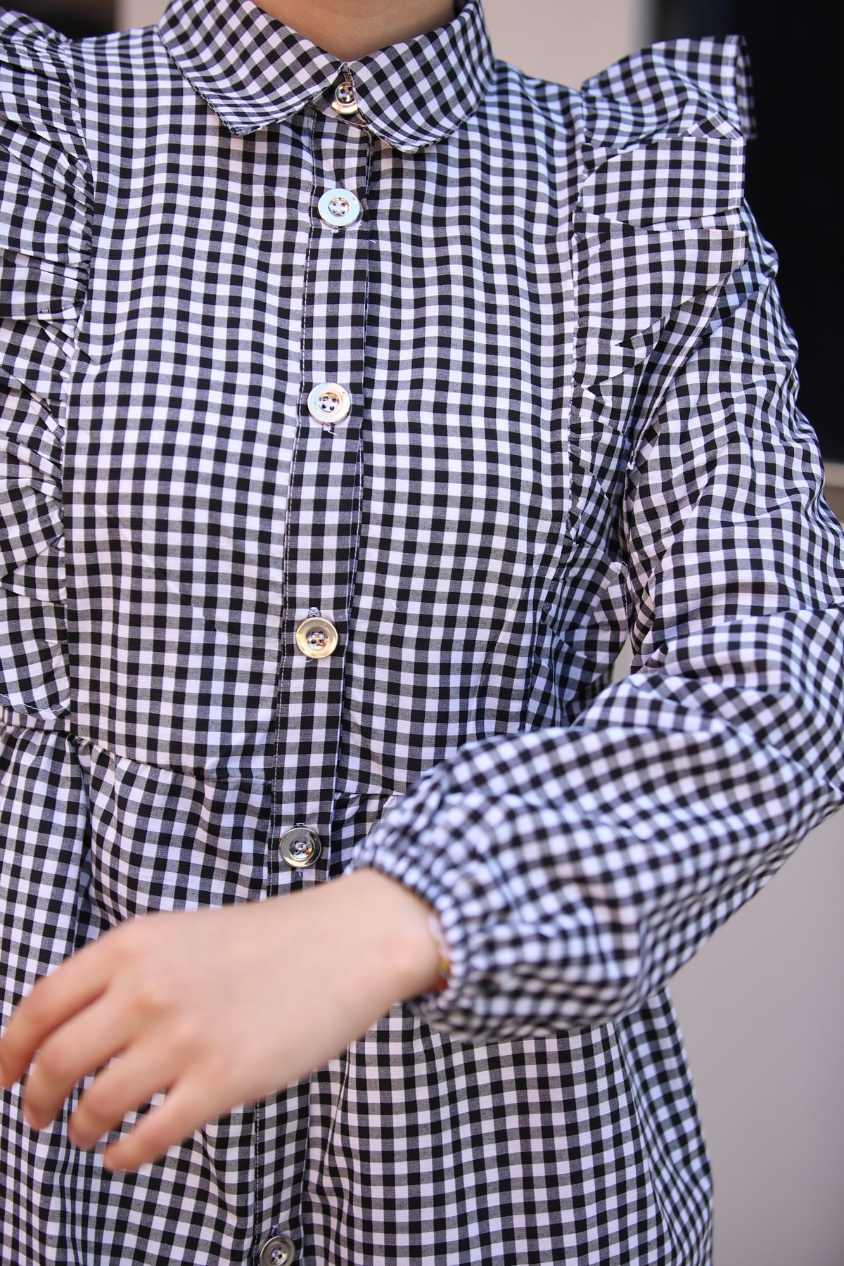 Mini Kare Tunik Gömlek - Siyah
