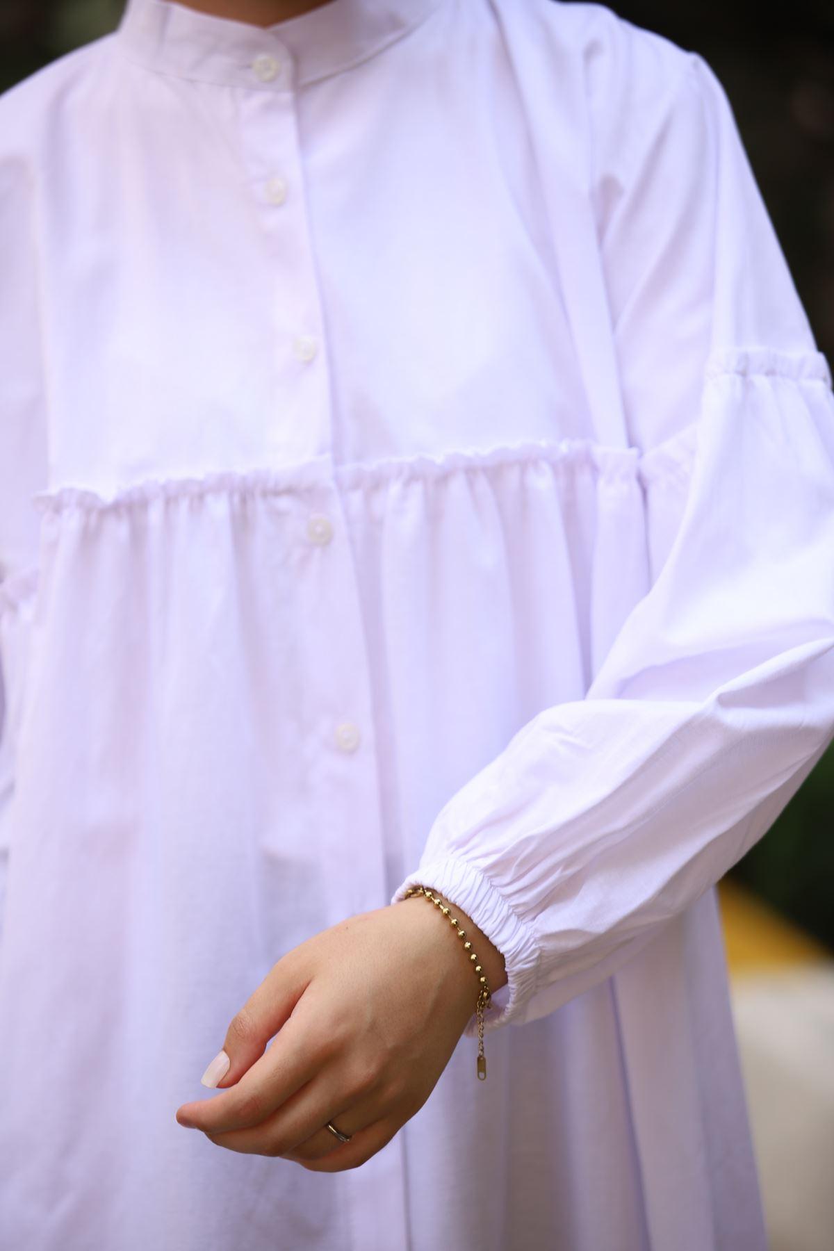 Hakim Yaka Fırfırlı Gömlek - Beyaz