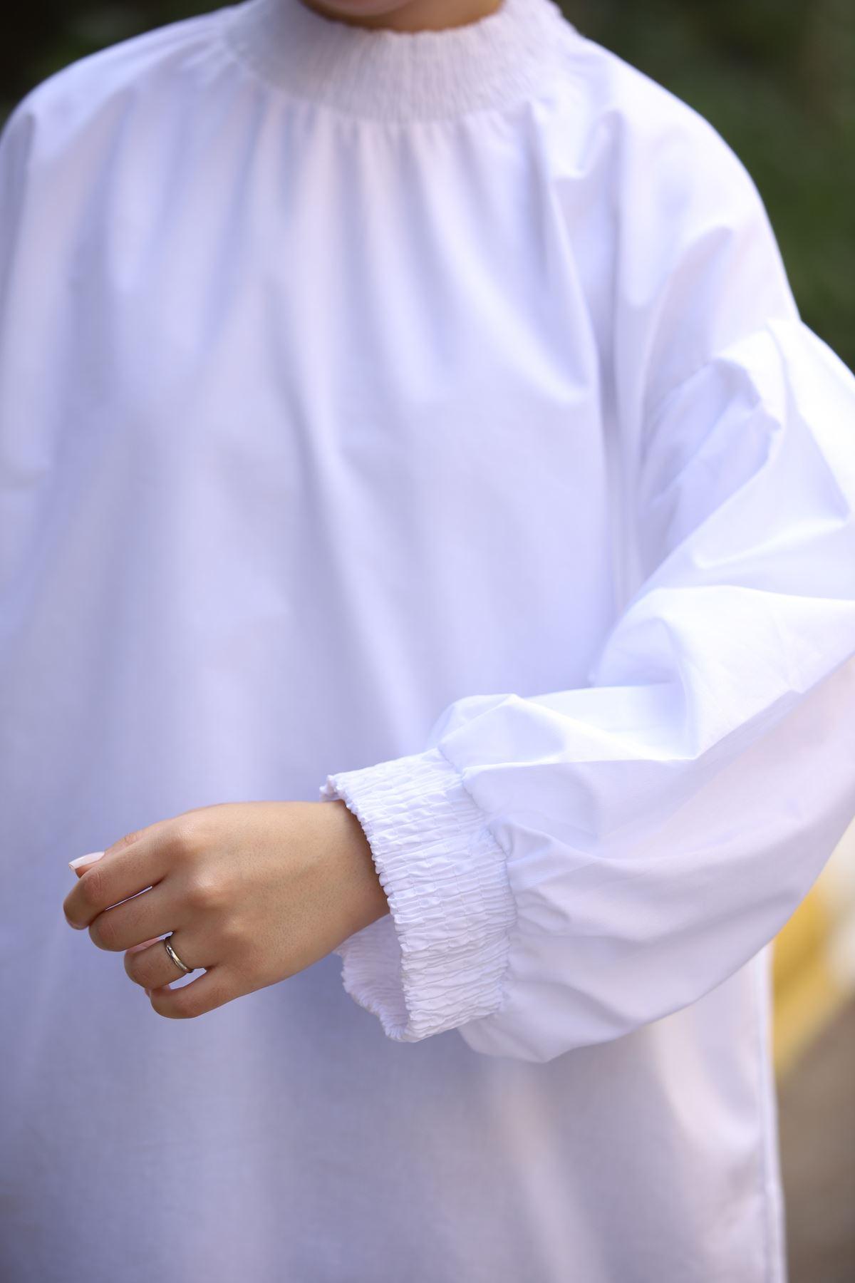 Boğaz Büzgülü Balon Kol Tunik Gömlek - Beyaz