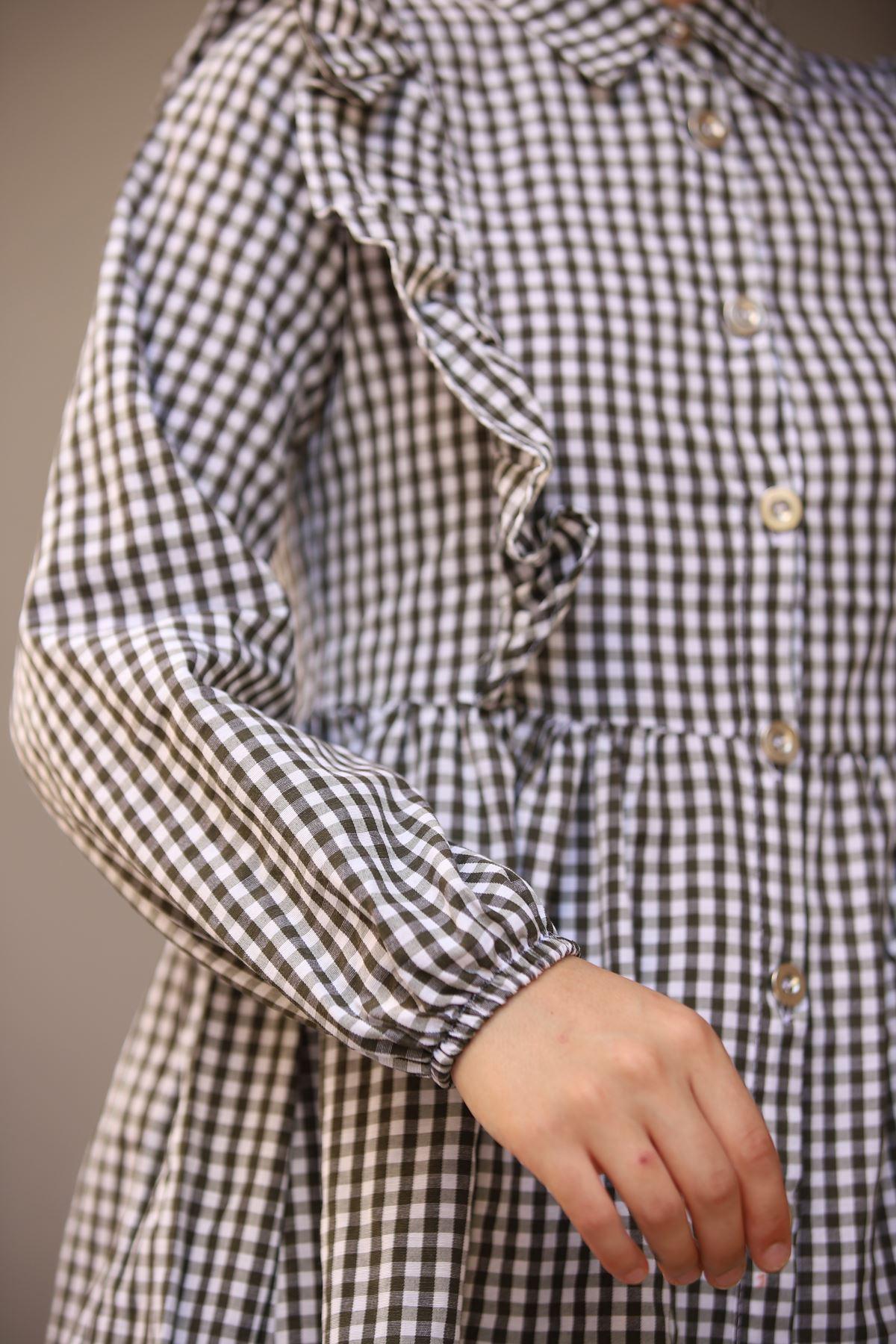 Mini Kare Tunik Gömlek - Haki
