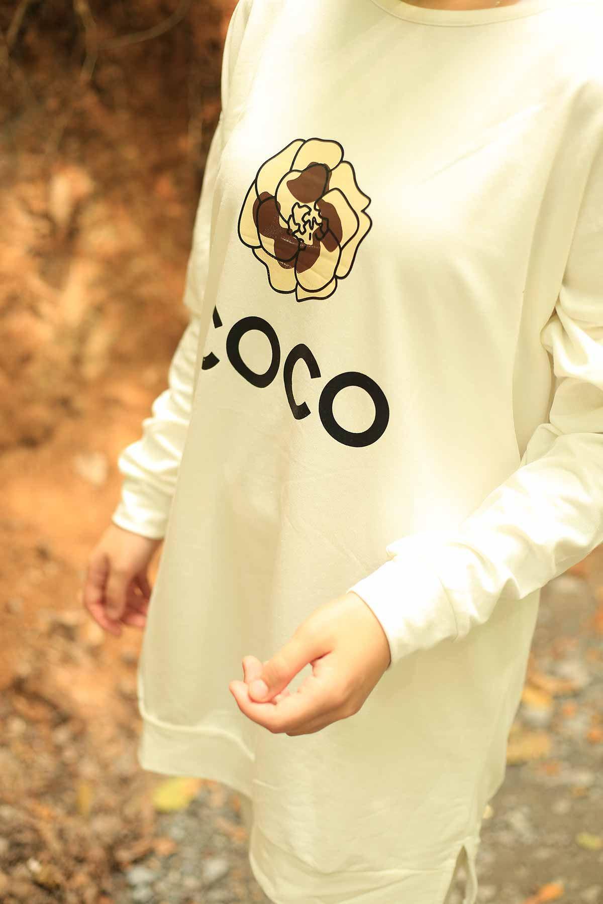 Coco Baskılı Sweat - Beyaz