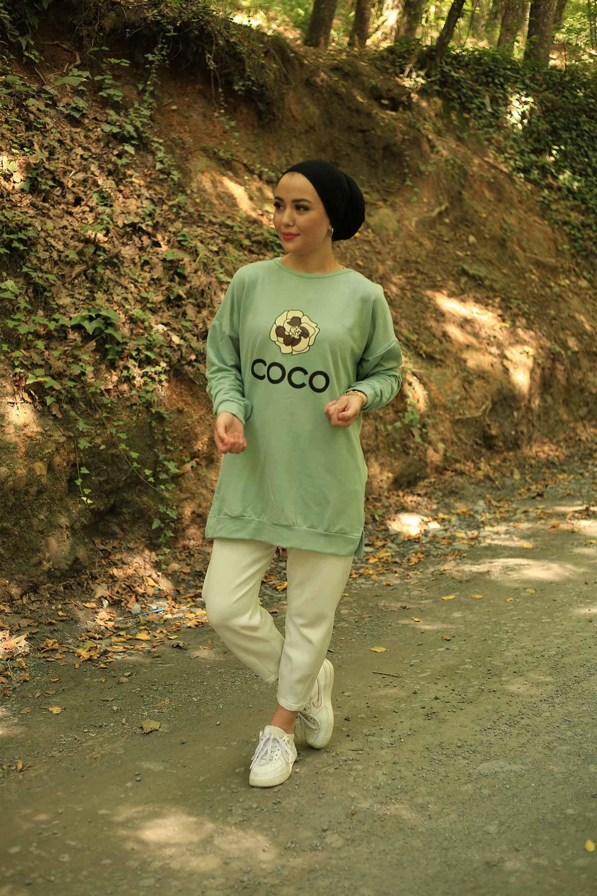 Coco Baskılı Sweat - Mint