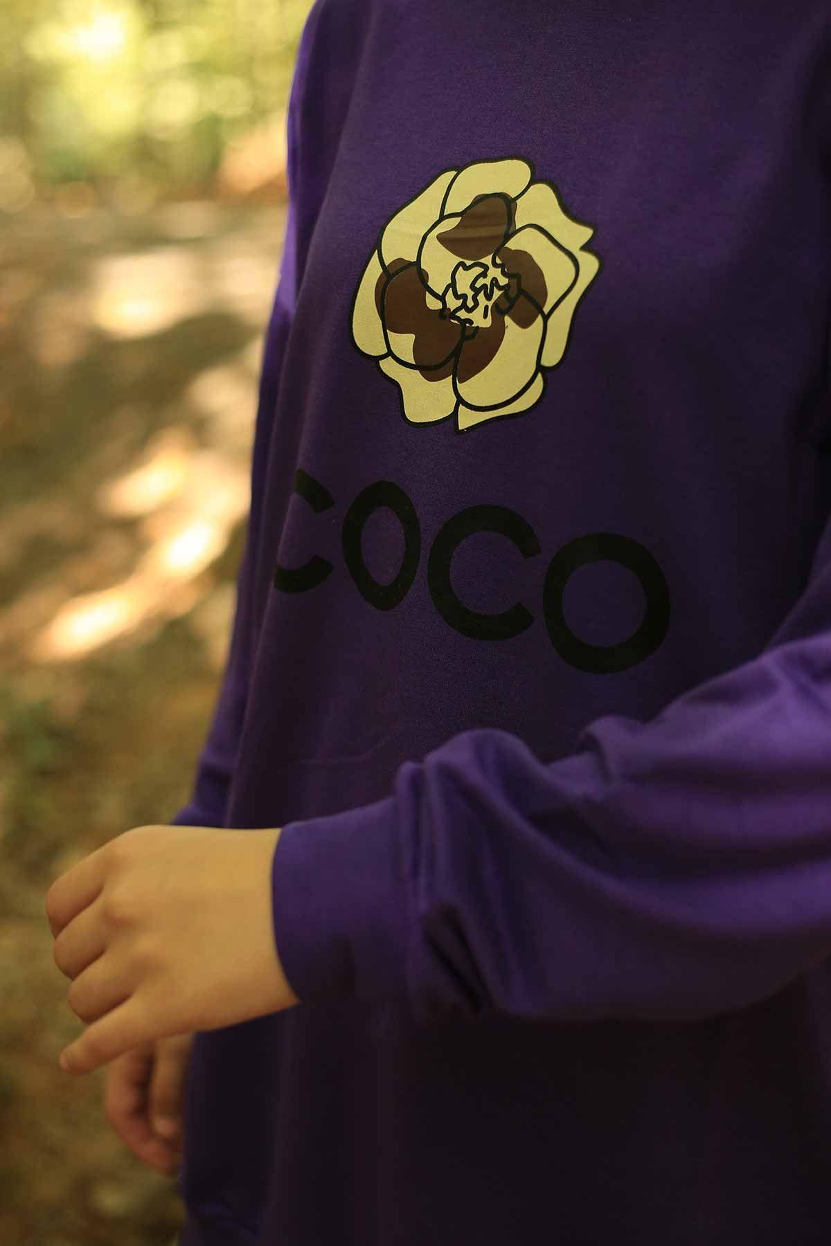 Coco Baskılı Sweat - Mor