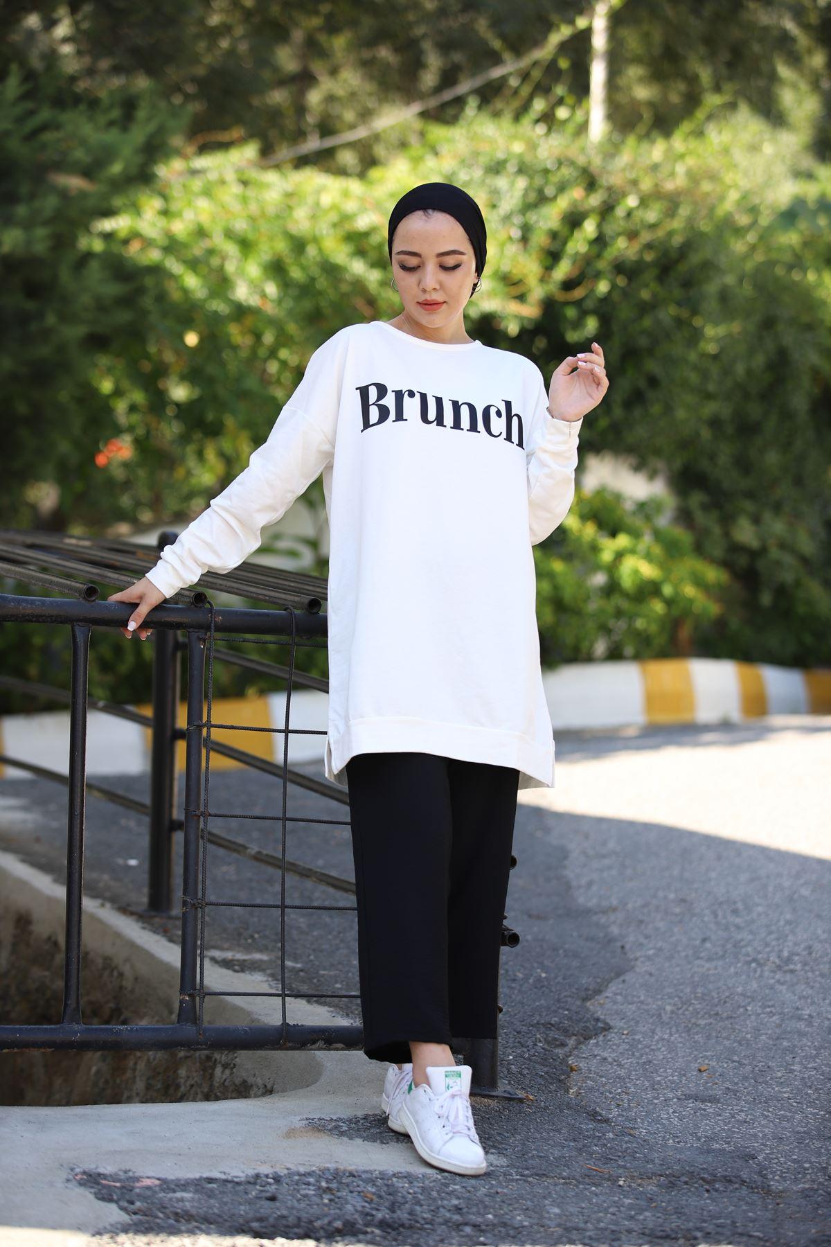 Brunch Baskılı Sweat - Beyaz