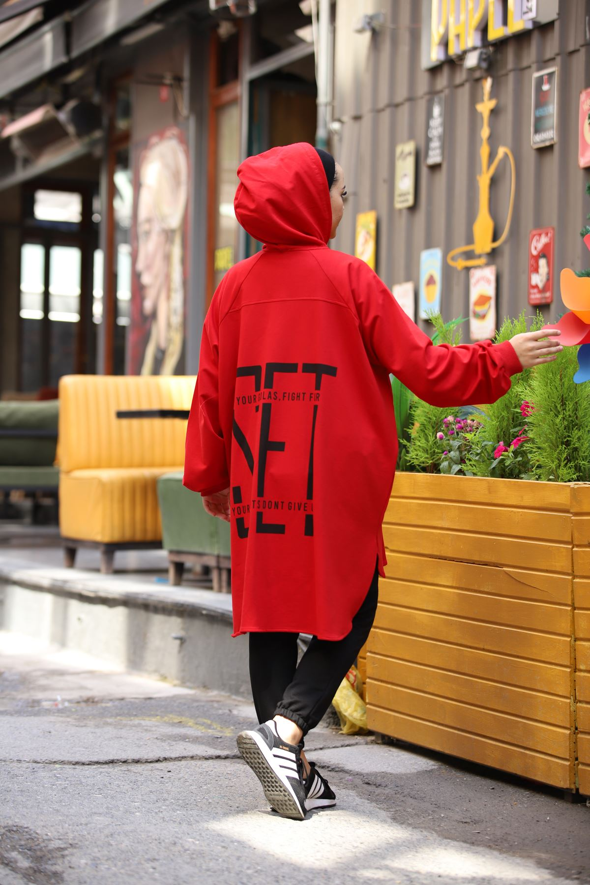 Set Baskılı Hırka - Kırmızı