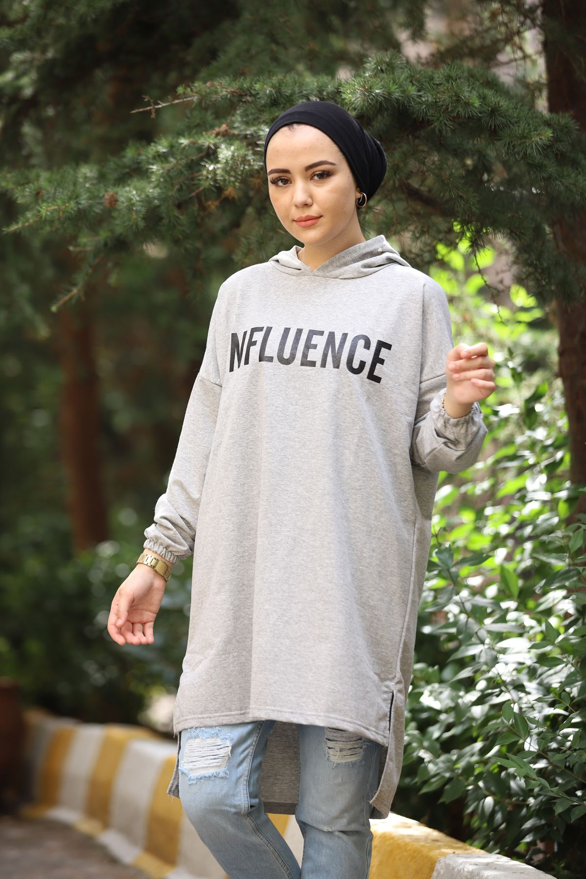 Influence Baskılı Sweat - Gri