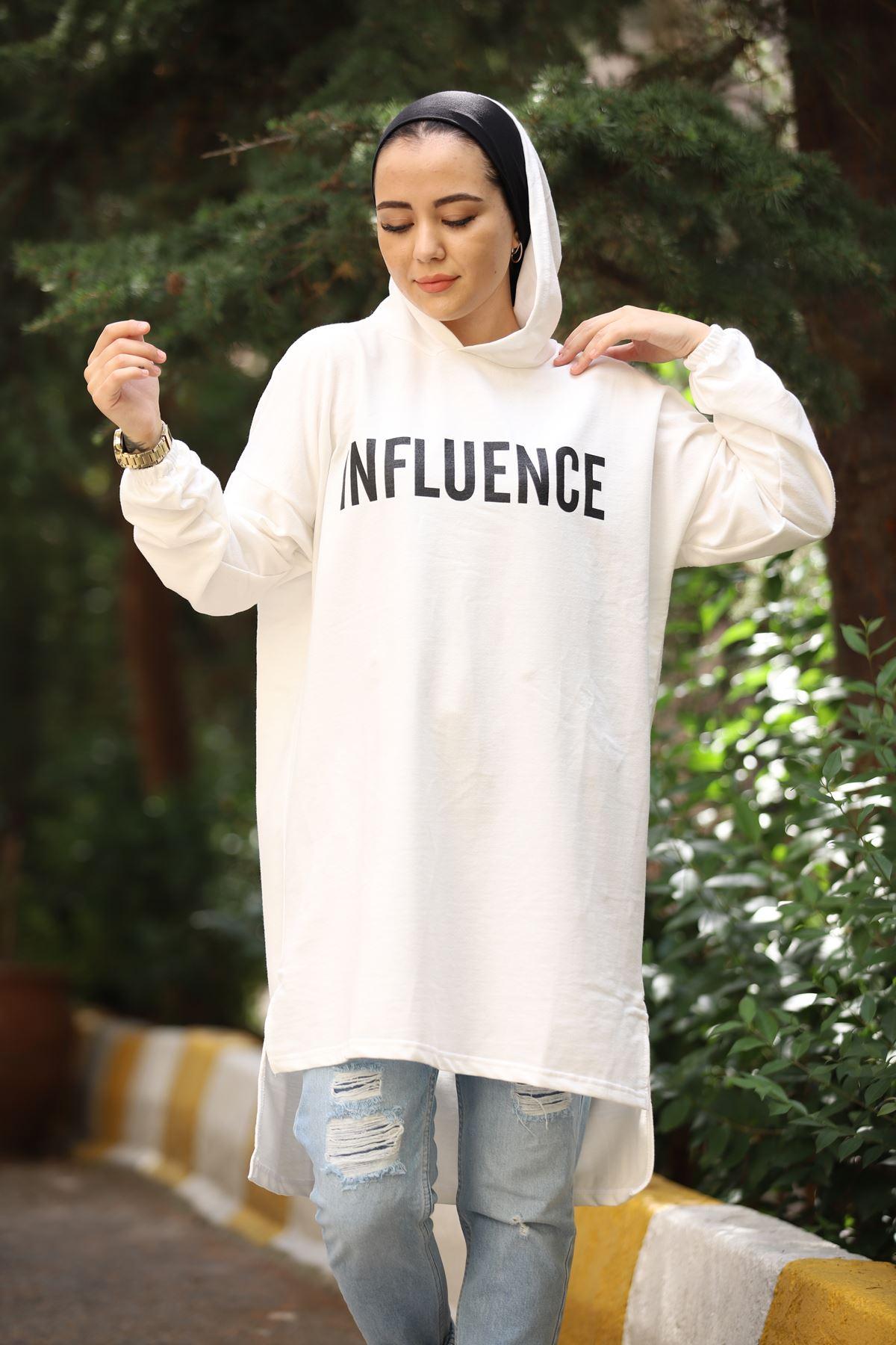 Influence Baskılı Sweat - Ekru