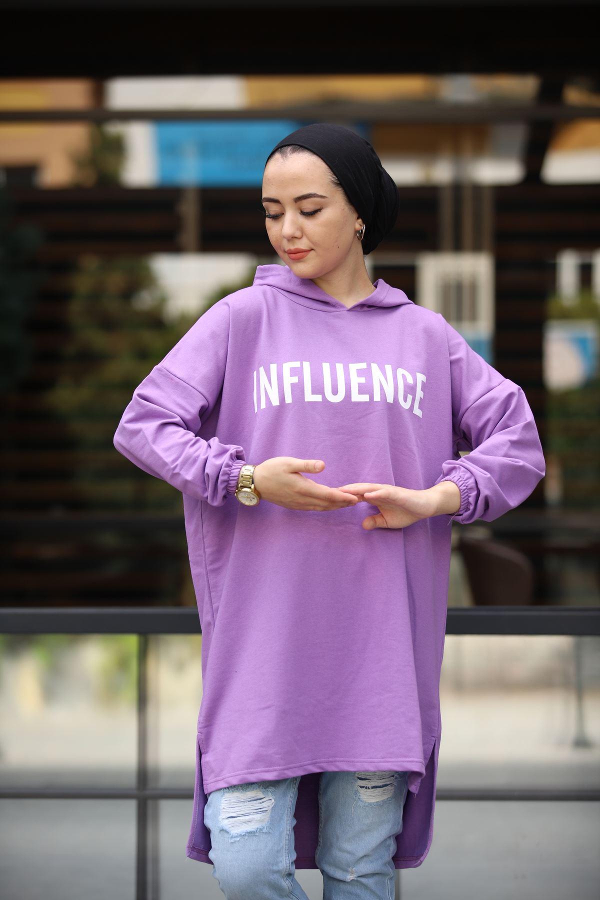 Influence Baskılı Sweat - Mor