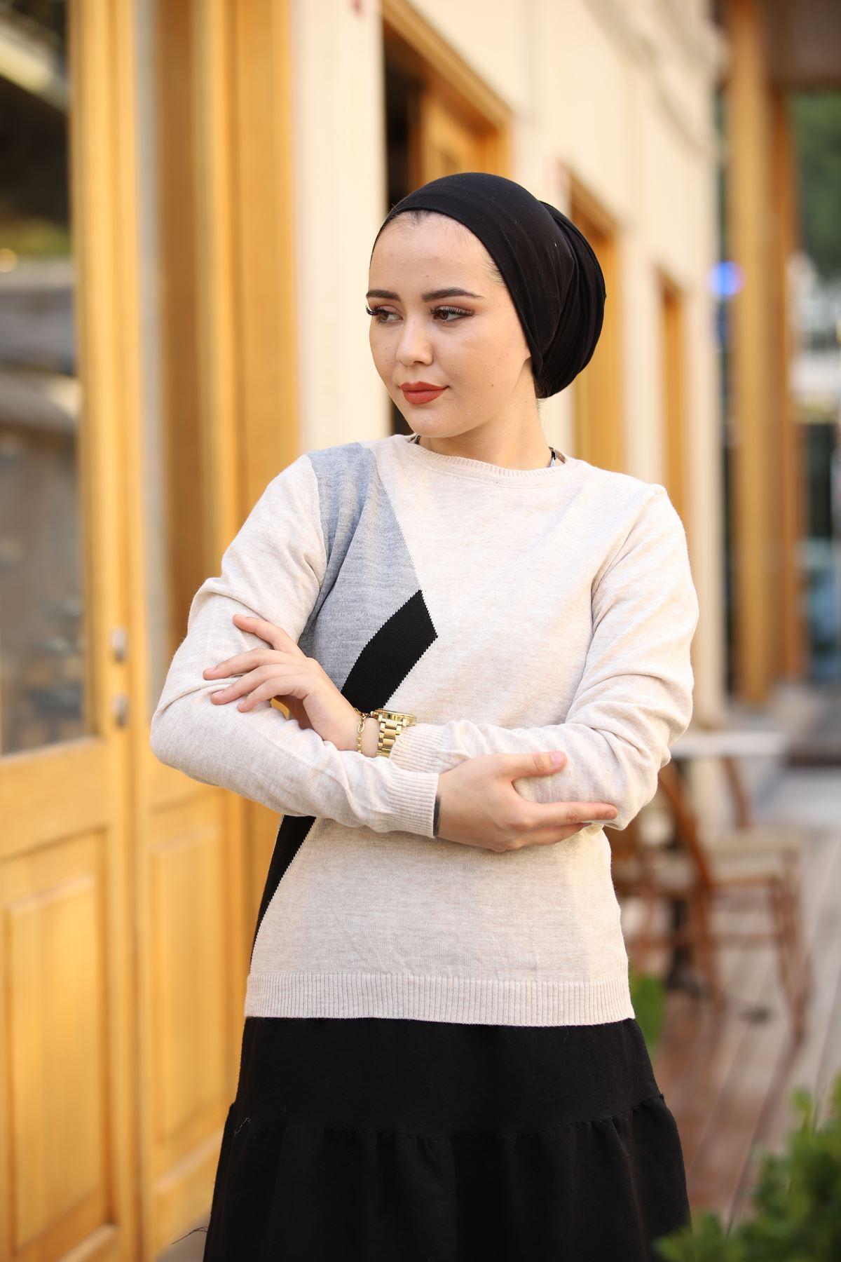 Parçalı Triko Kazak - Taş Rengi