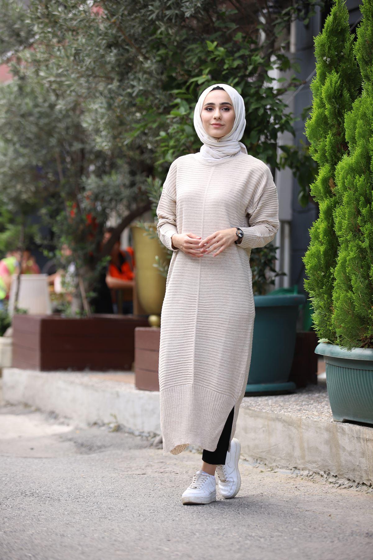 Ezhel Triko Tesettür Tunik - Taş Rengi