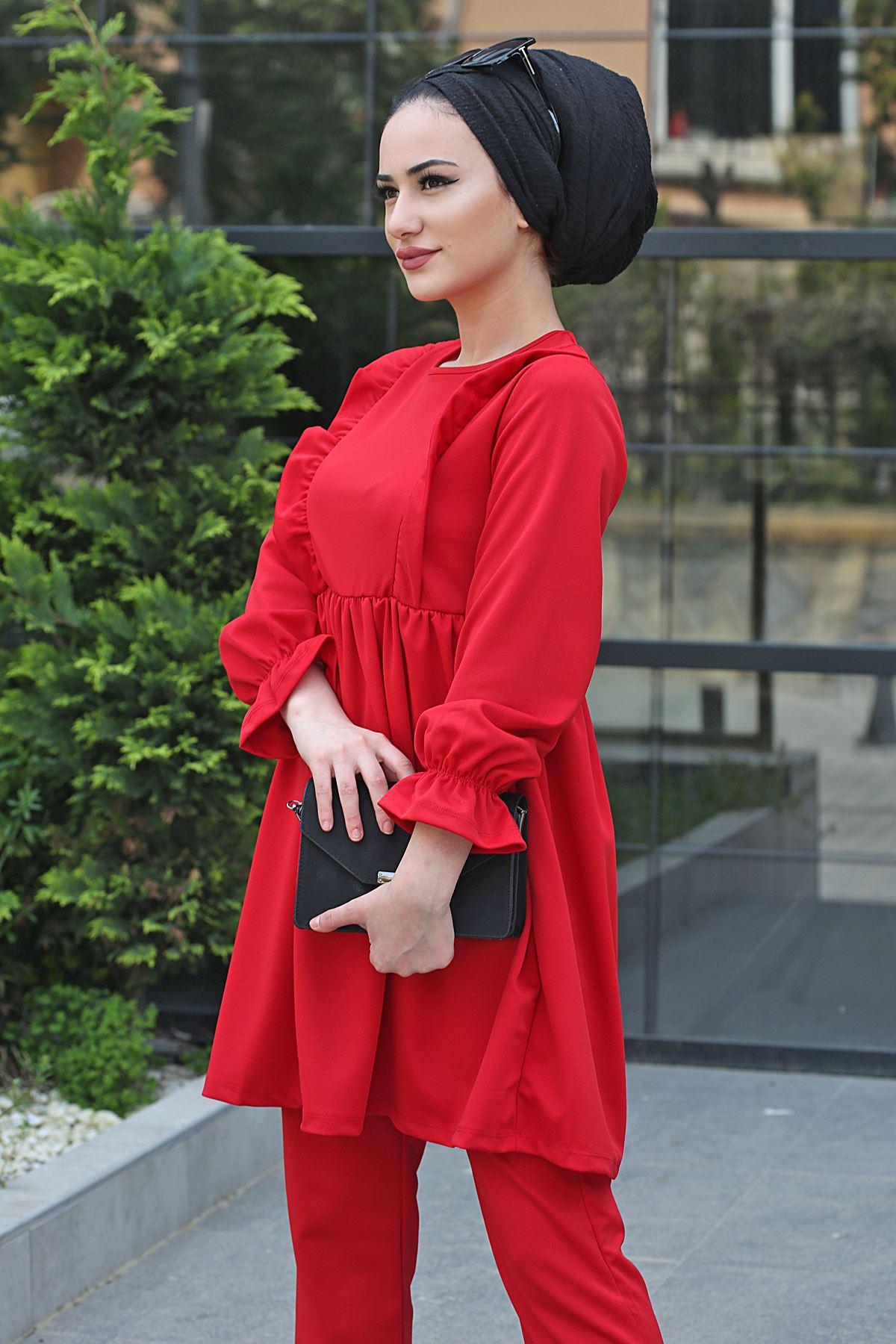 Roza İkili Tesettür Takım - Kırmızı