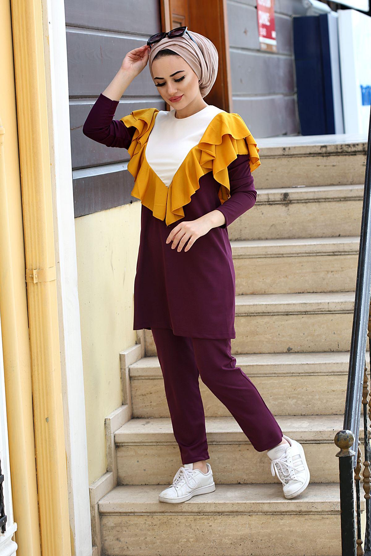 Dora V Yaka Fırfır Detaylı Tesettür Kombin- Mor