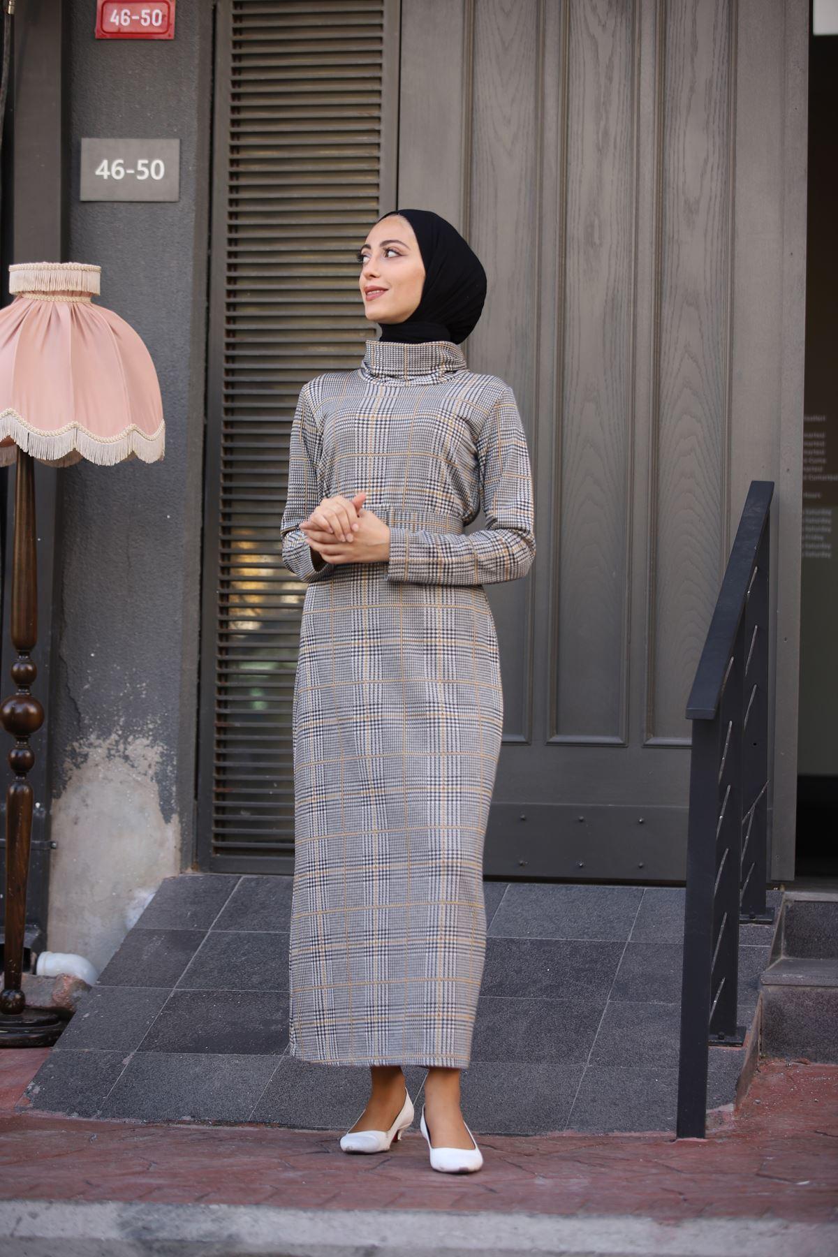 Kare Ekoseli Boğazlı Kemerli Elbise - Hardal