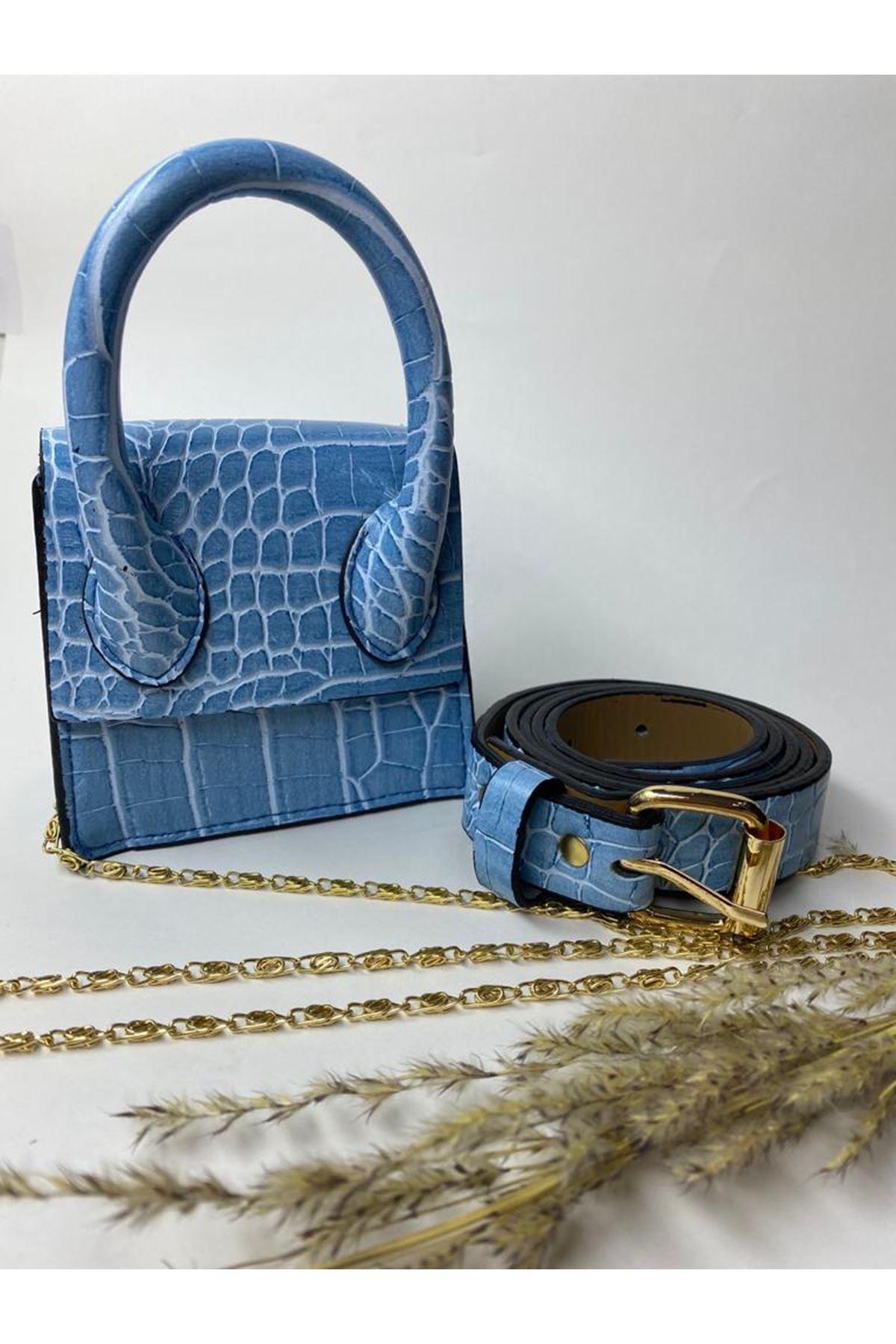 Mini Zincirli Kemerli Çanta - Mavi