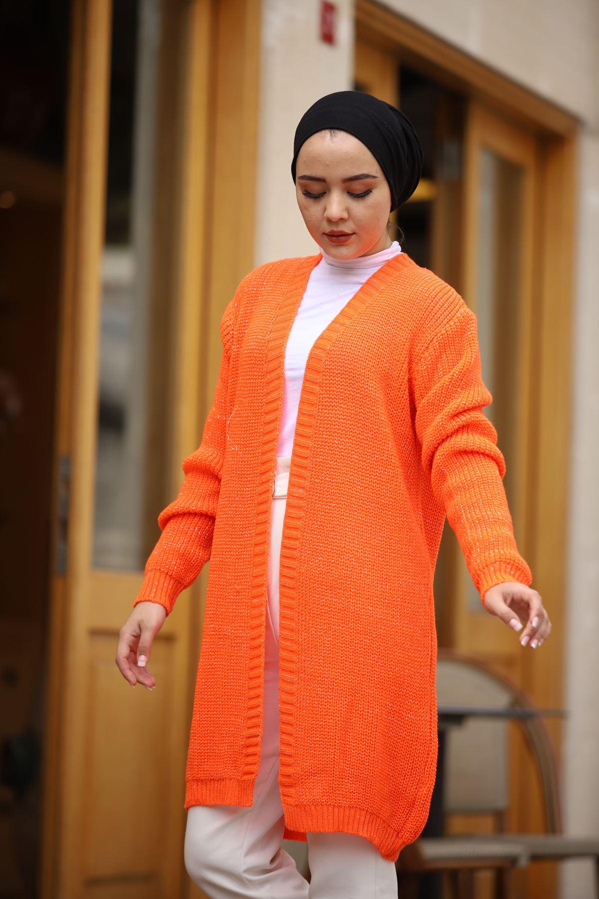 Simli Tesettür Hırka - Orange