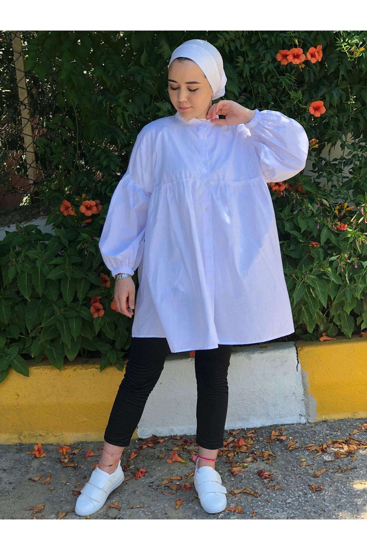 Elit Balon Kol Tunik Gömlek - Beyaz
