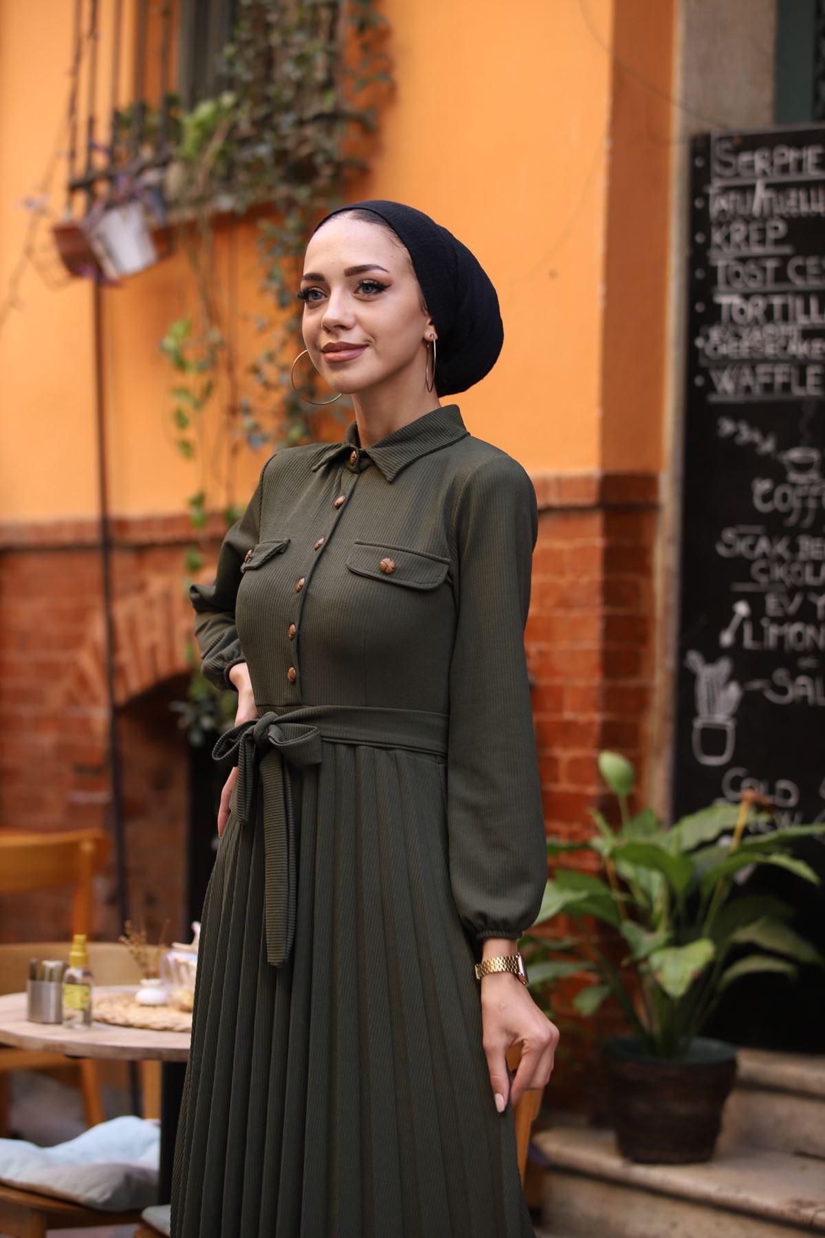 Gömlek Yaka Düğmeli Elbise - Haki