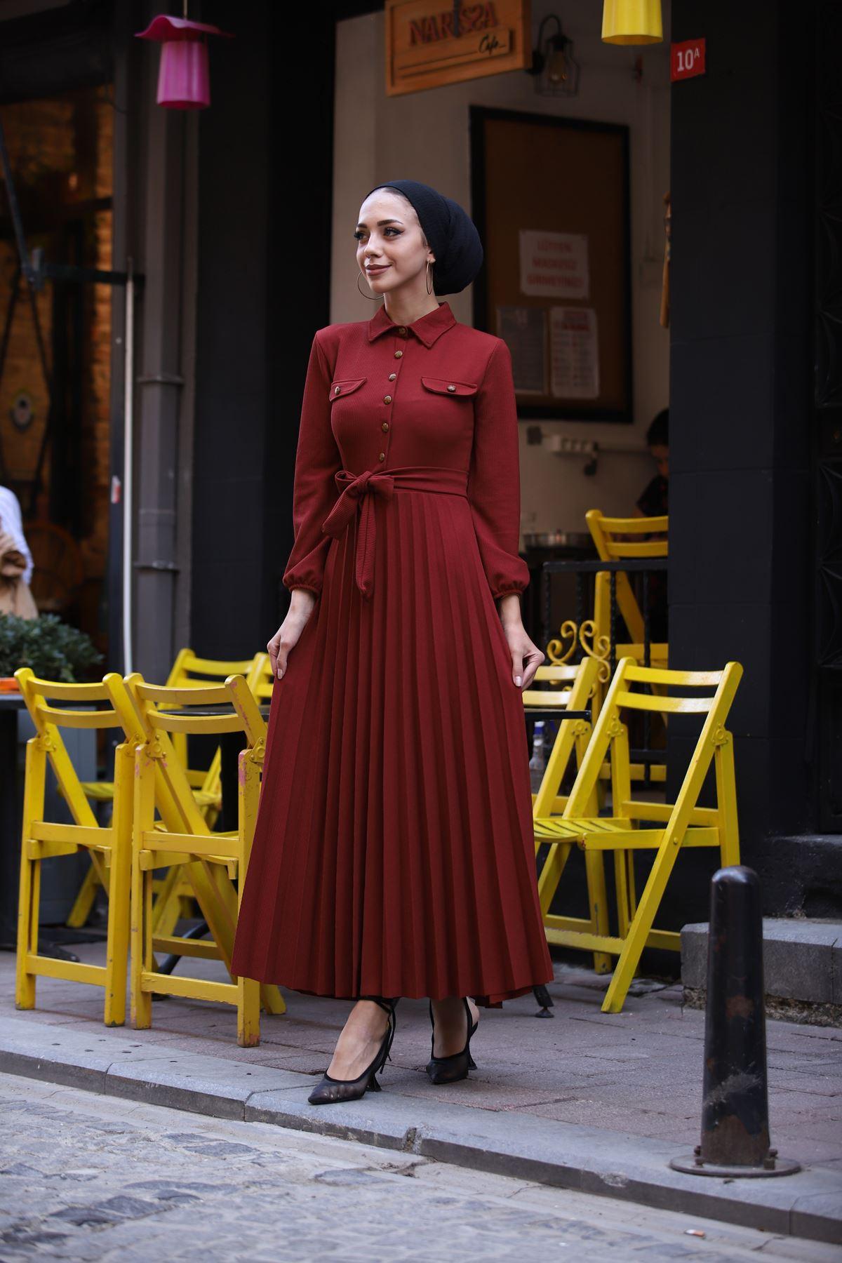 Gömlek Yaka Düğmeli Elbise - Kiremit
