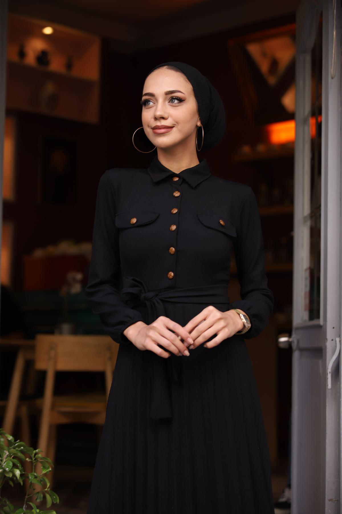 Gömlek Yaka Düğmel Elbise - Siyah