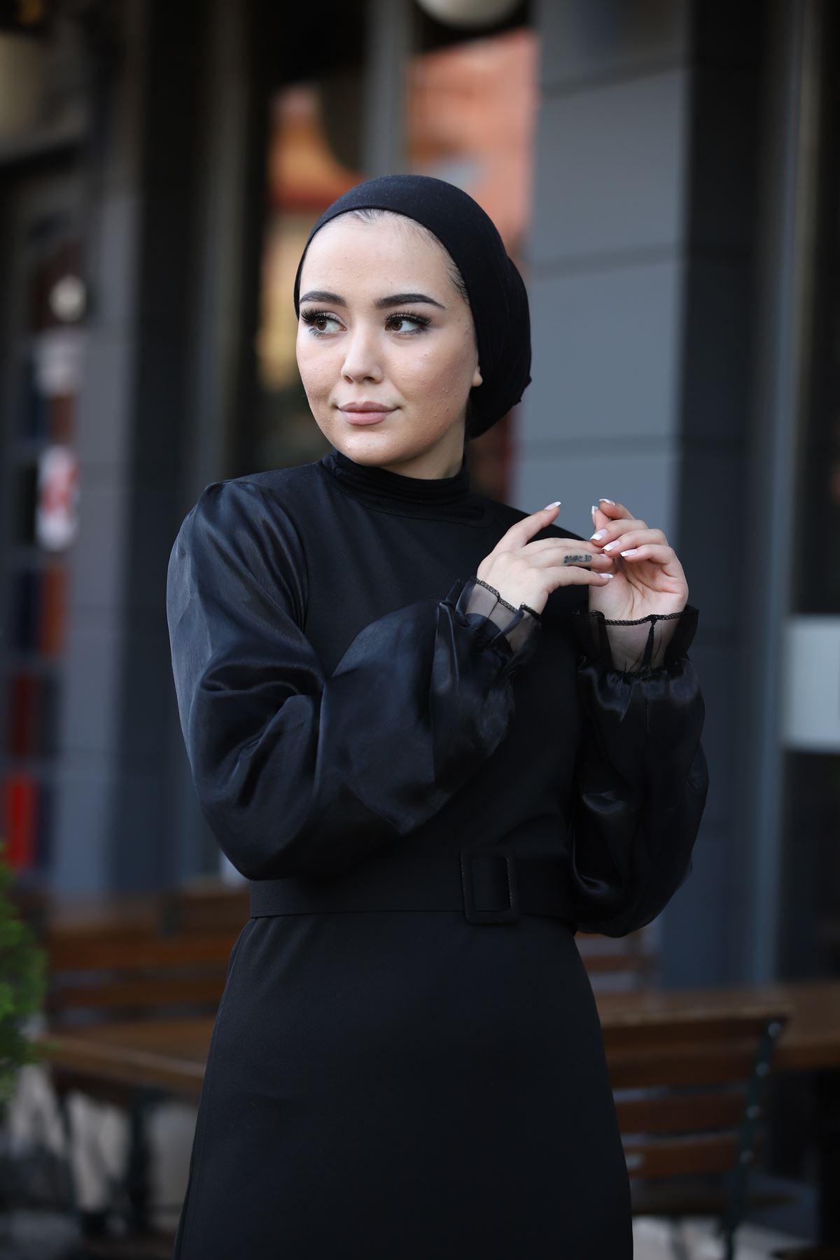 Organze Kol Tül Tesettür Elbise - Siyah
