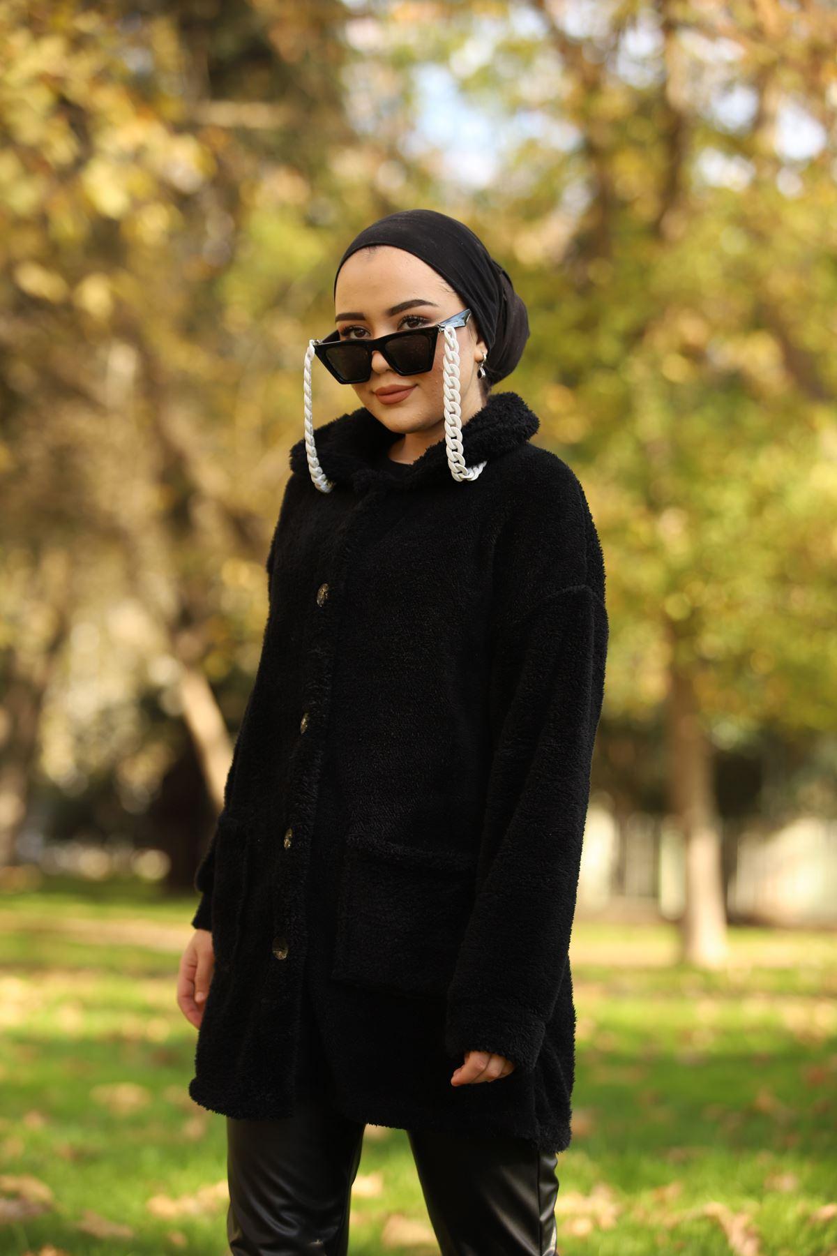 Düğmeli Peluş Ceket - Siyah